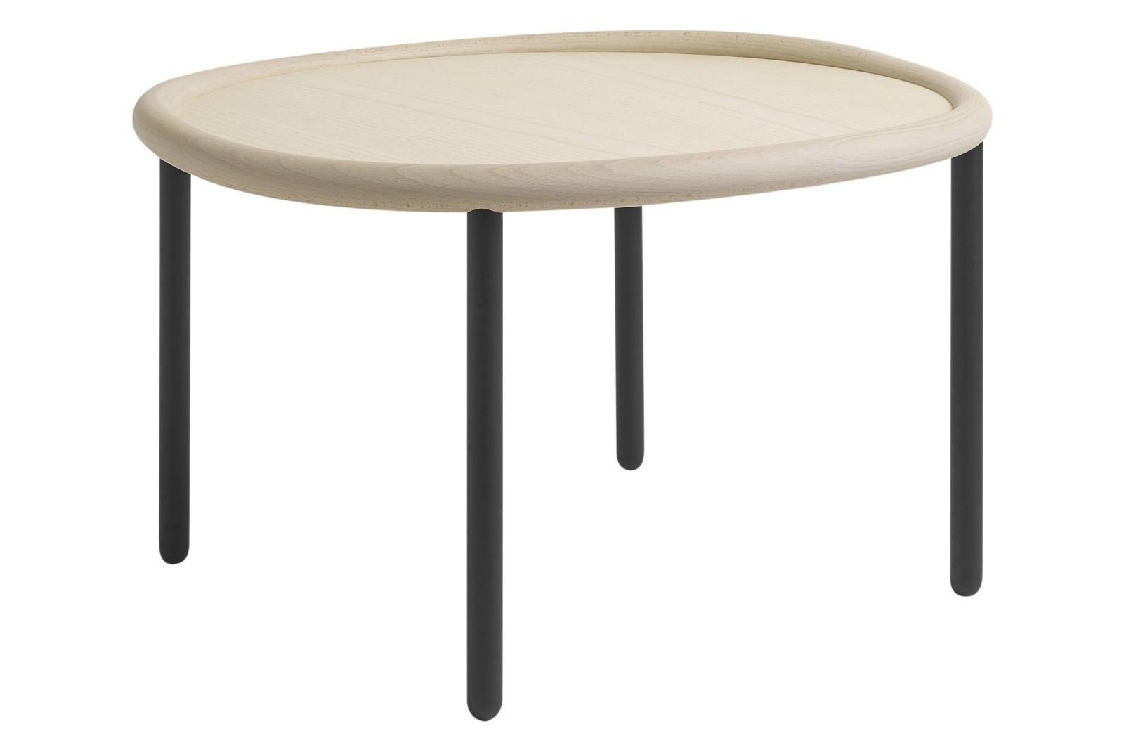 Serve Side Table Light White Top, Black Legs, Large