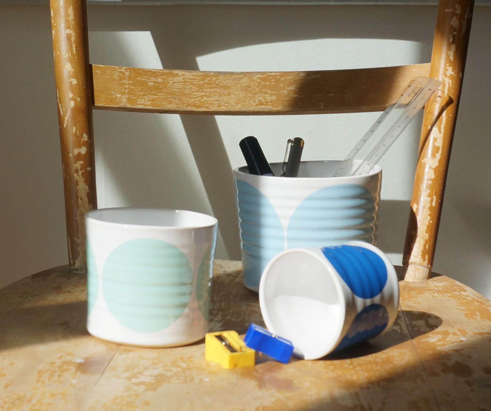 Set of 3 Pots Light Blue, Turquoise, Blue