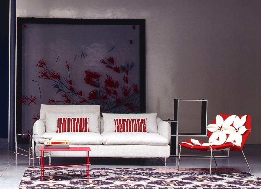 Shanghai Tip Major 2 Seater Sofa A4500 - Art.48045 - 206 beige, Chromed Steel Feet