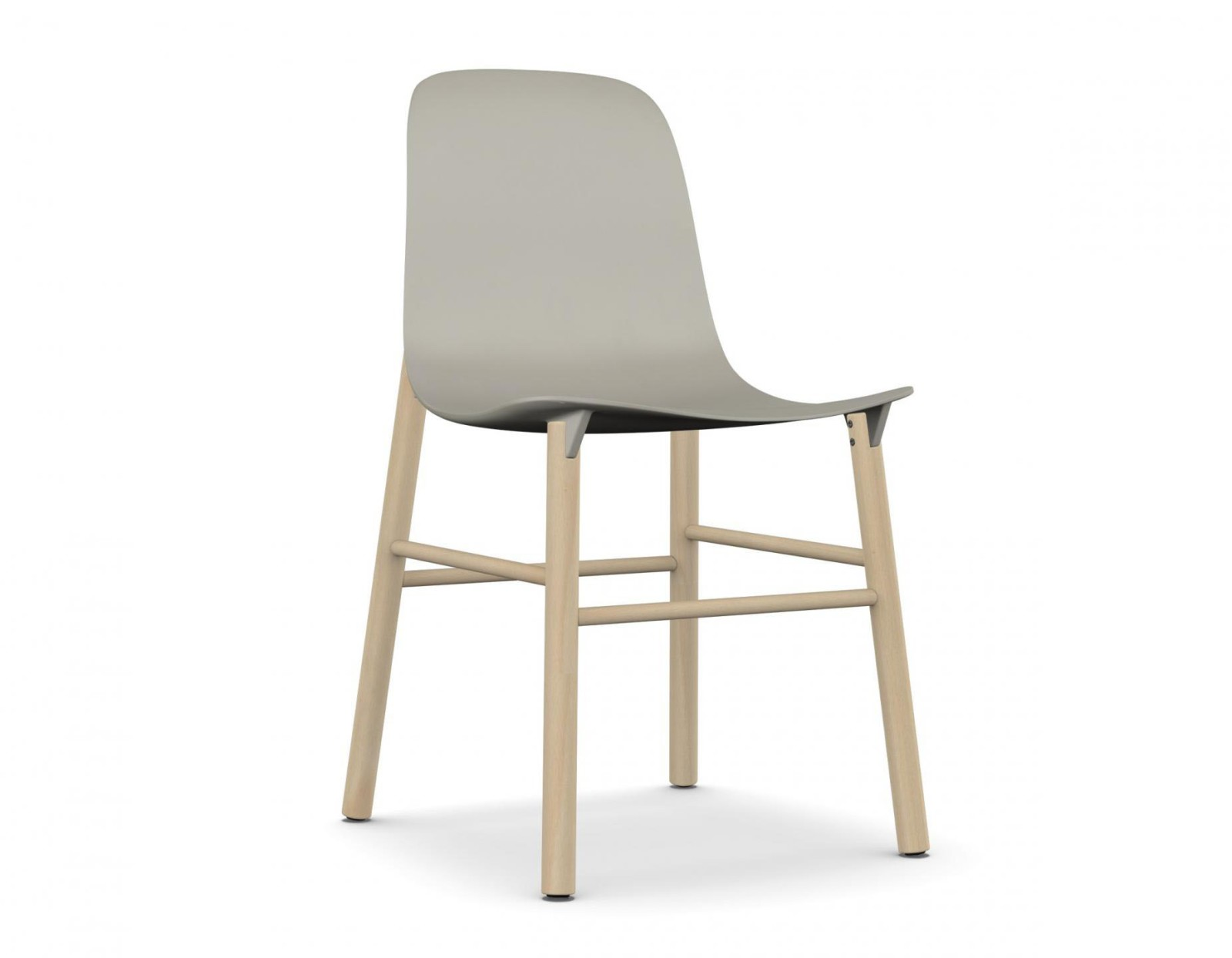 Sharky Wood base - Polyurethane seat Beige, Beech