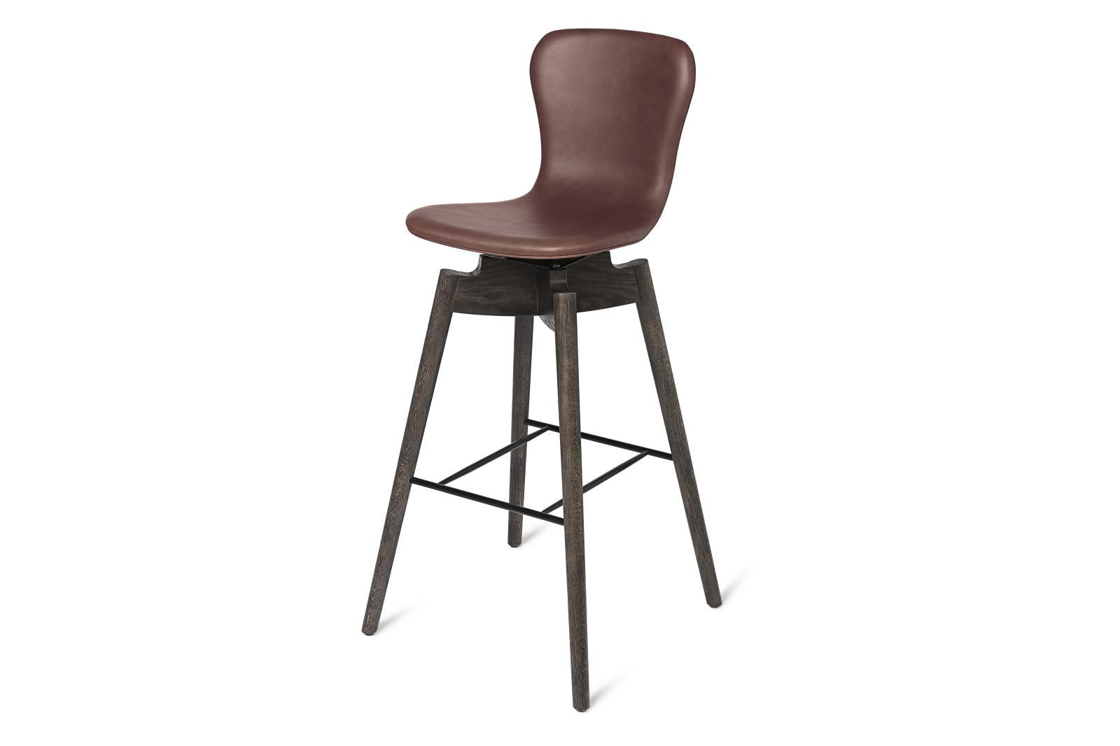 Shell Bar Stool with Swivel Seat Ultra Cognac Leather, 102cm