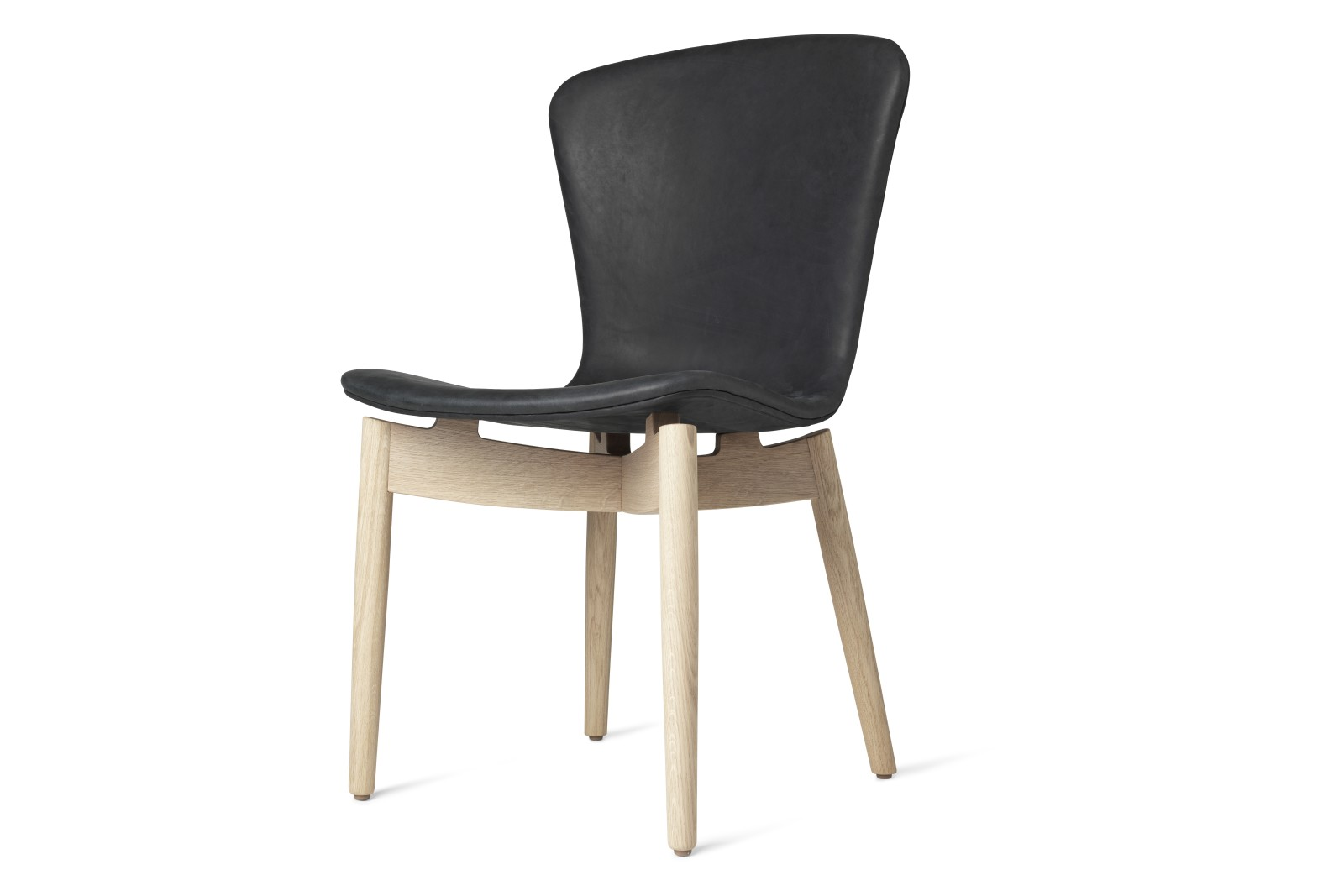 Shell Dining Chair Dunes Anthrazit Black Leather, Matt Lacquered