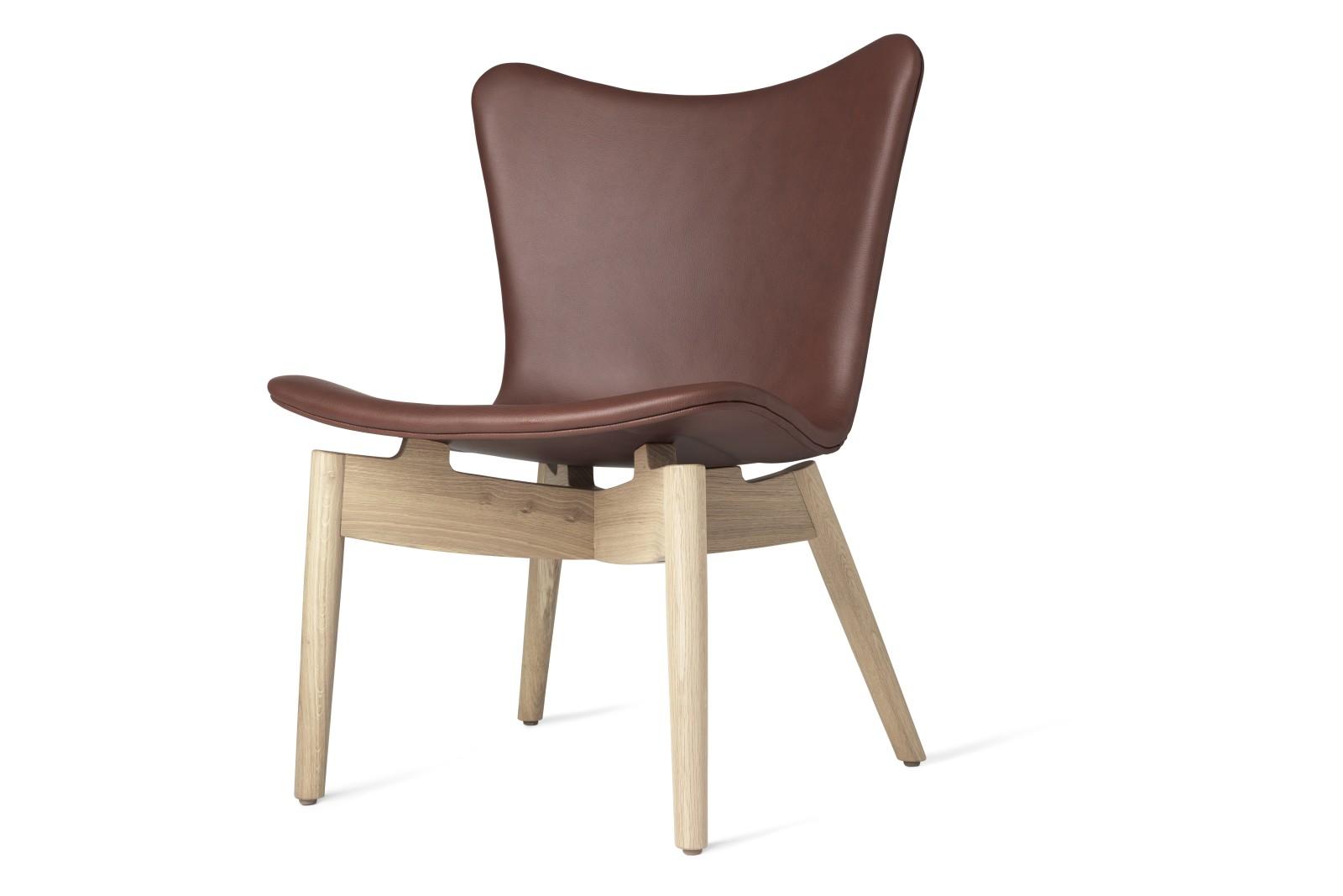 Shell Lounge Chair Ultra Cognac Leather, Matt Lacquered