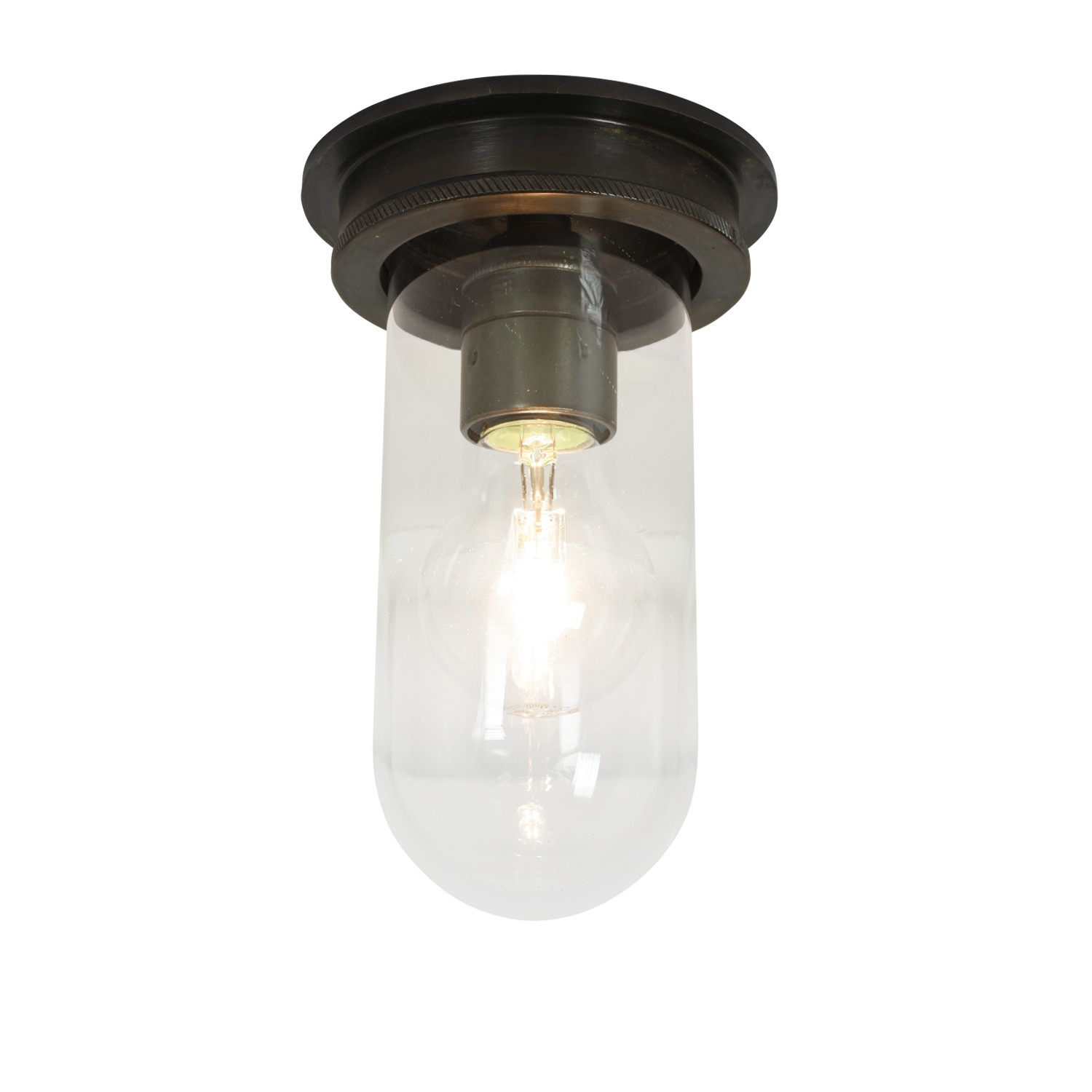 Ship's Companionway Light 7202 Weathered Brass, Clear Glass