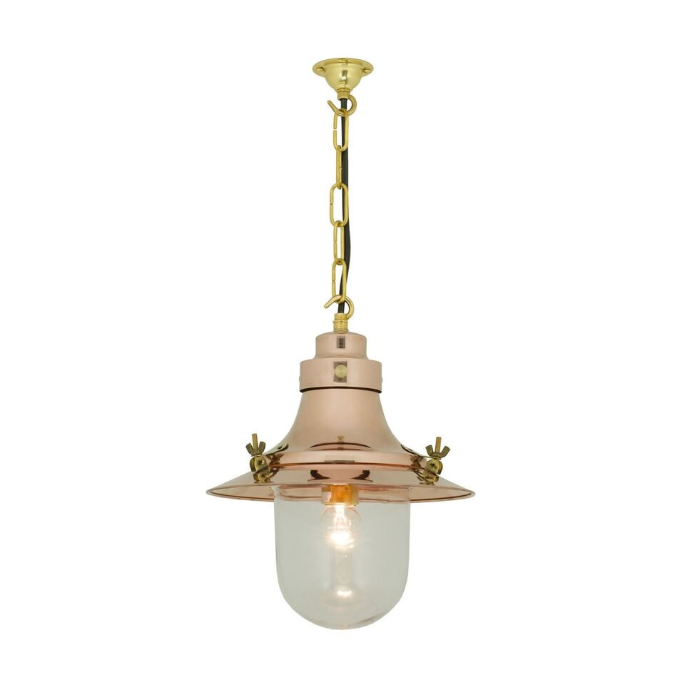 Ship's Small Decklight Pendant Light 7125 Polished copper, Clear Glass