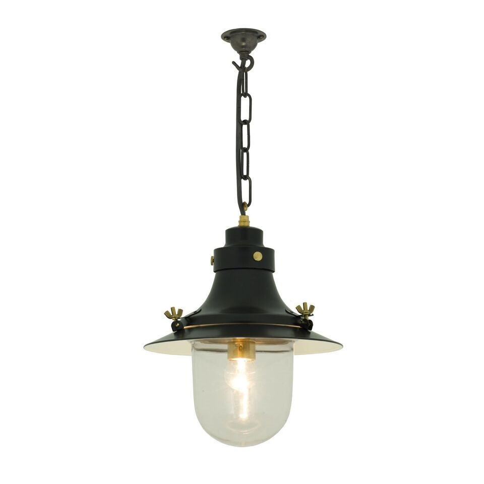 Ship's Small Decklight Pendant Light 7125 Weathered copper, Clear Glass