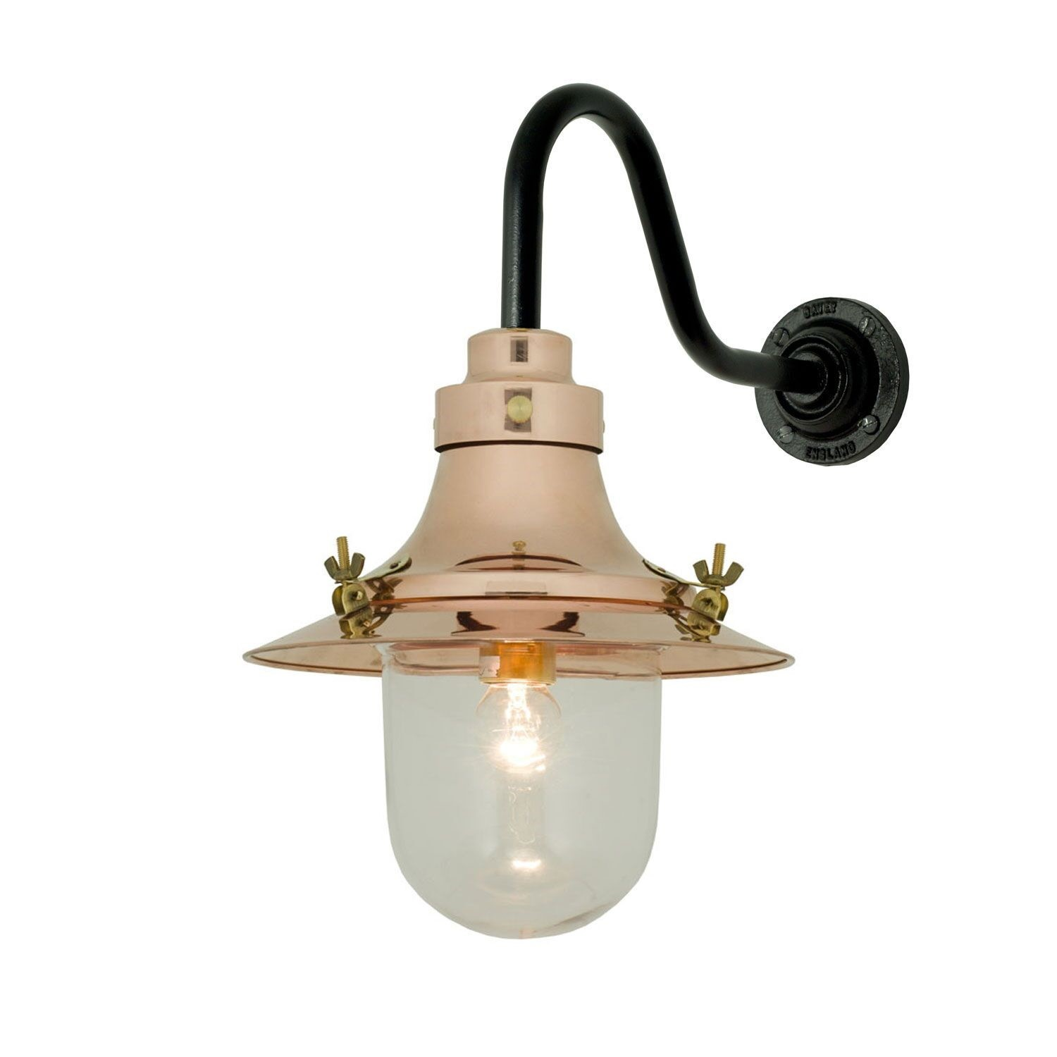 Ship's Small Decklight Wall Light 7125 Polish Copper, Clear Glass