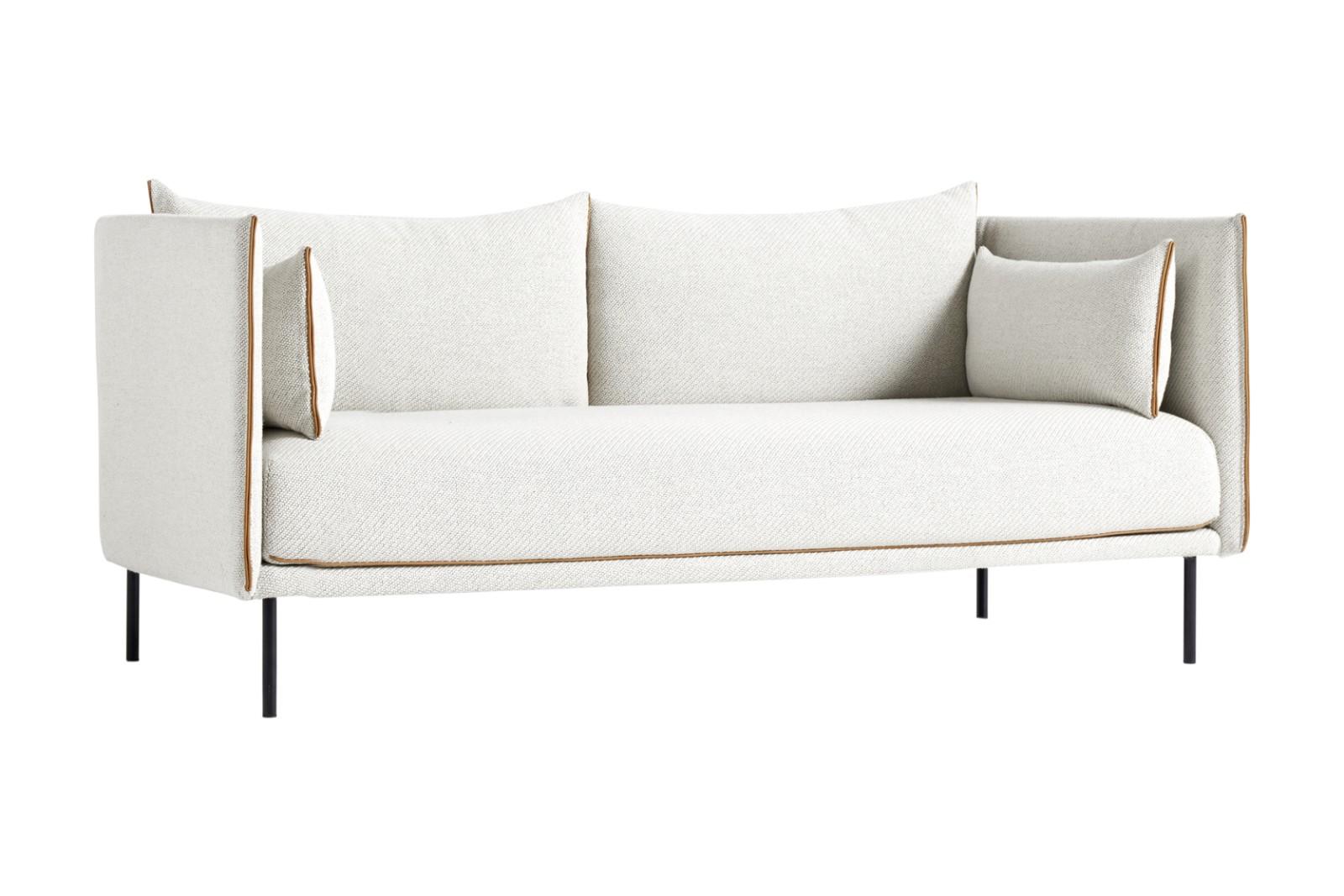 Silhouette 2 Seater Sofa Black Powder Coated Steel, Cognac Leather, Coda 2 100 thumbnail