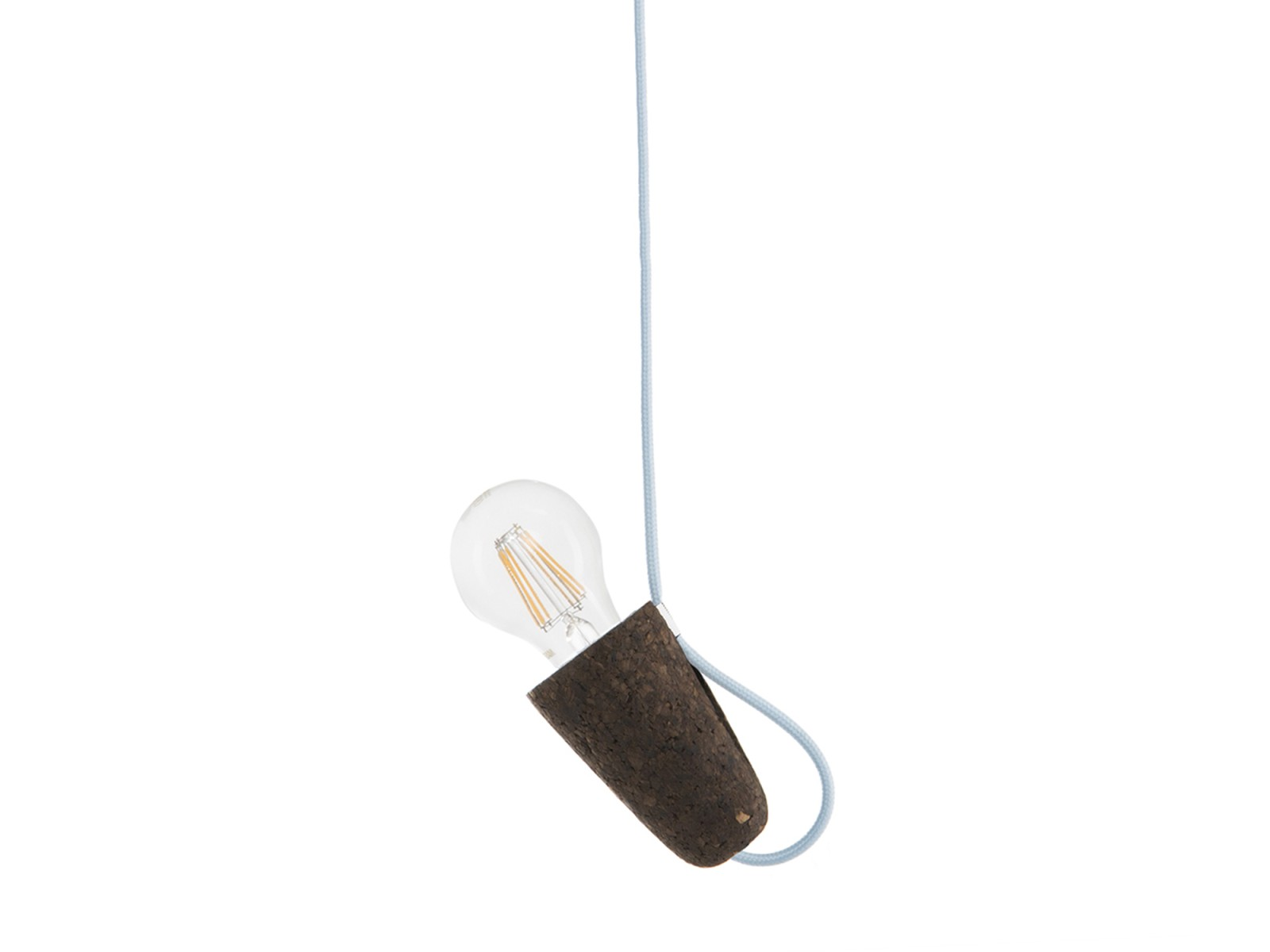 Sininho Pendant Light Dark Cork Blue wire
