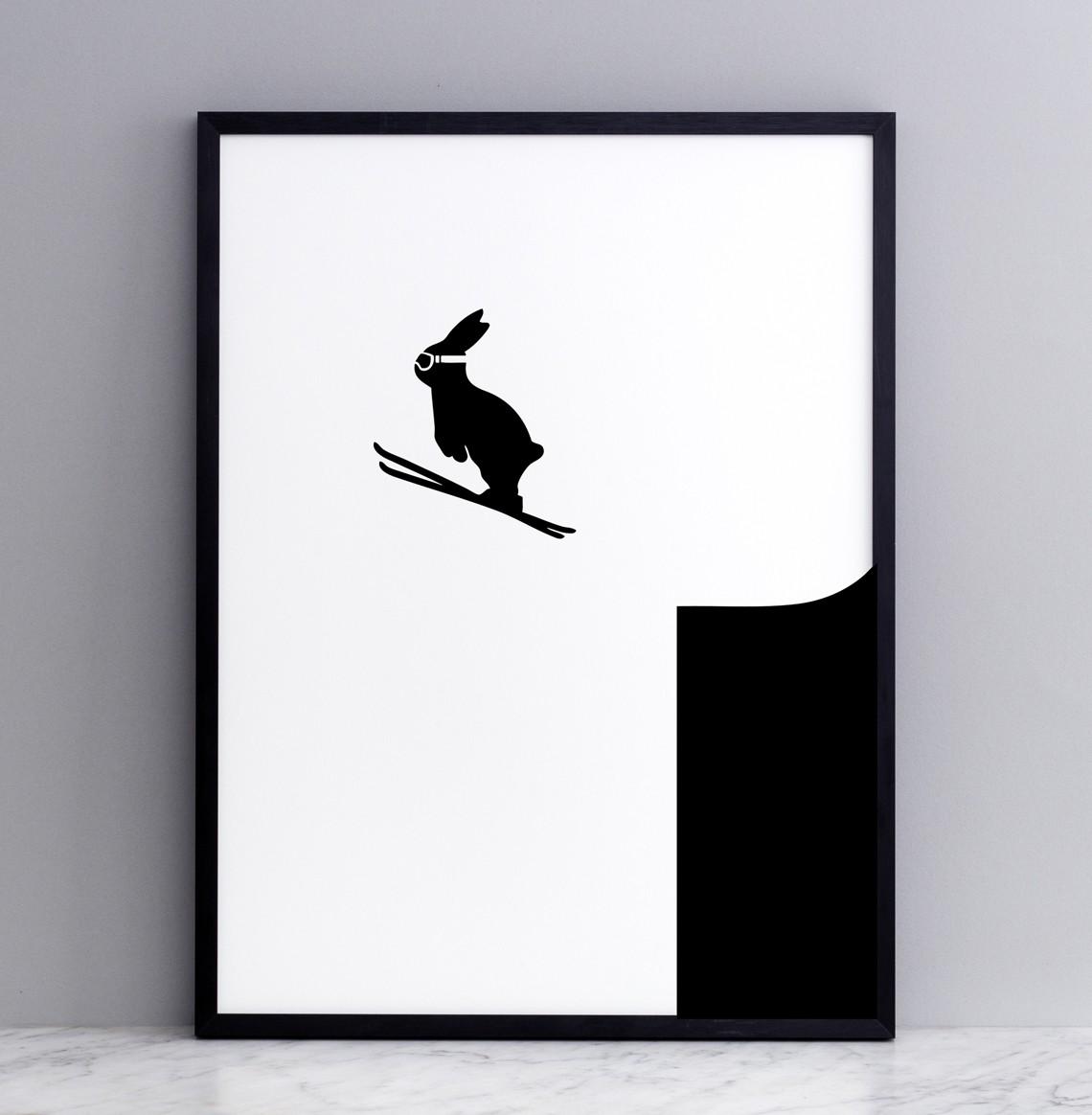 Ski Jumping Rabbit Screen Print Small