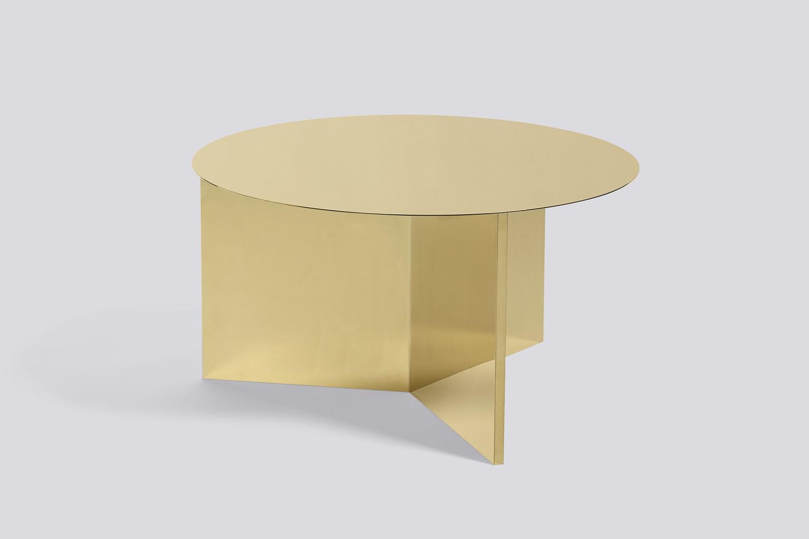 Slit Round Side Table Brass, 065 cm