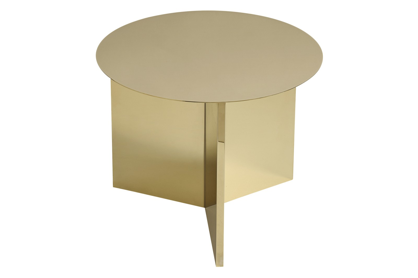 Slit Round Side Table Brass, 045 cm