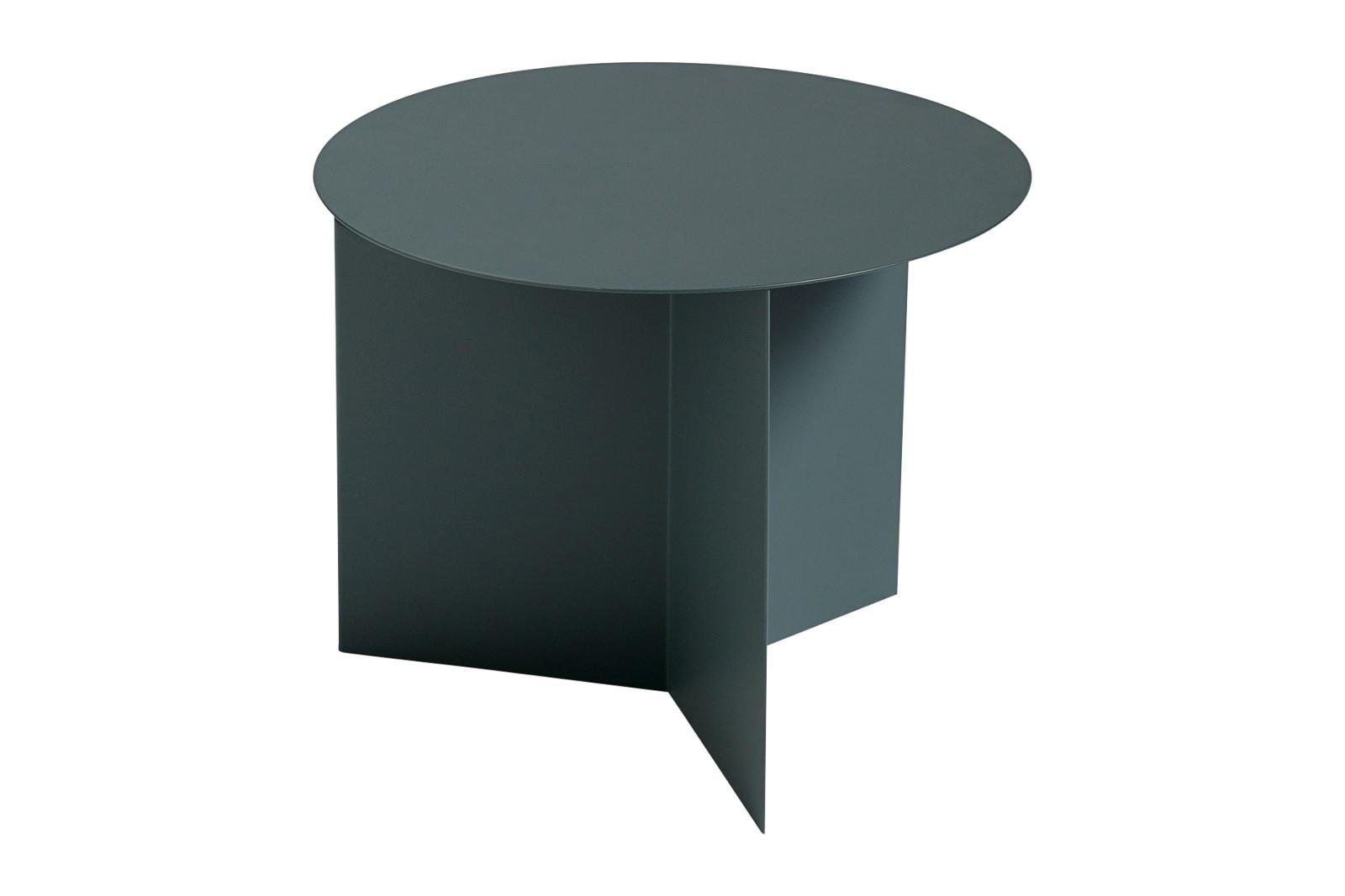 Slit Round Side Table Petrol grey, 045 cm