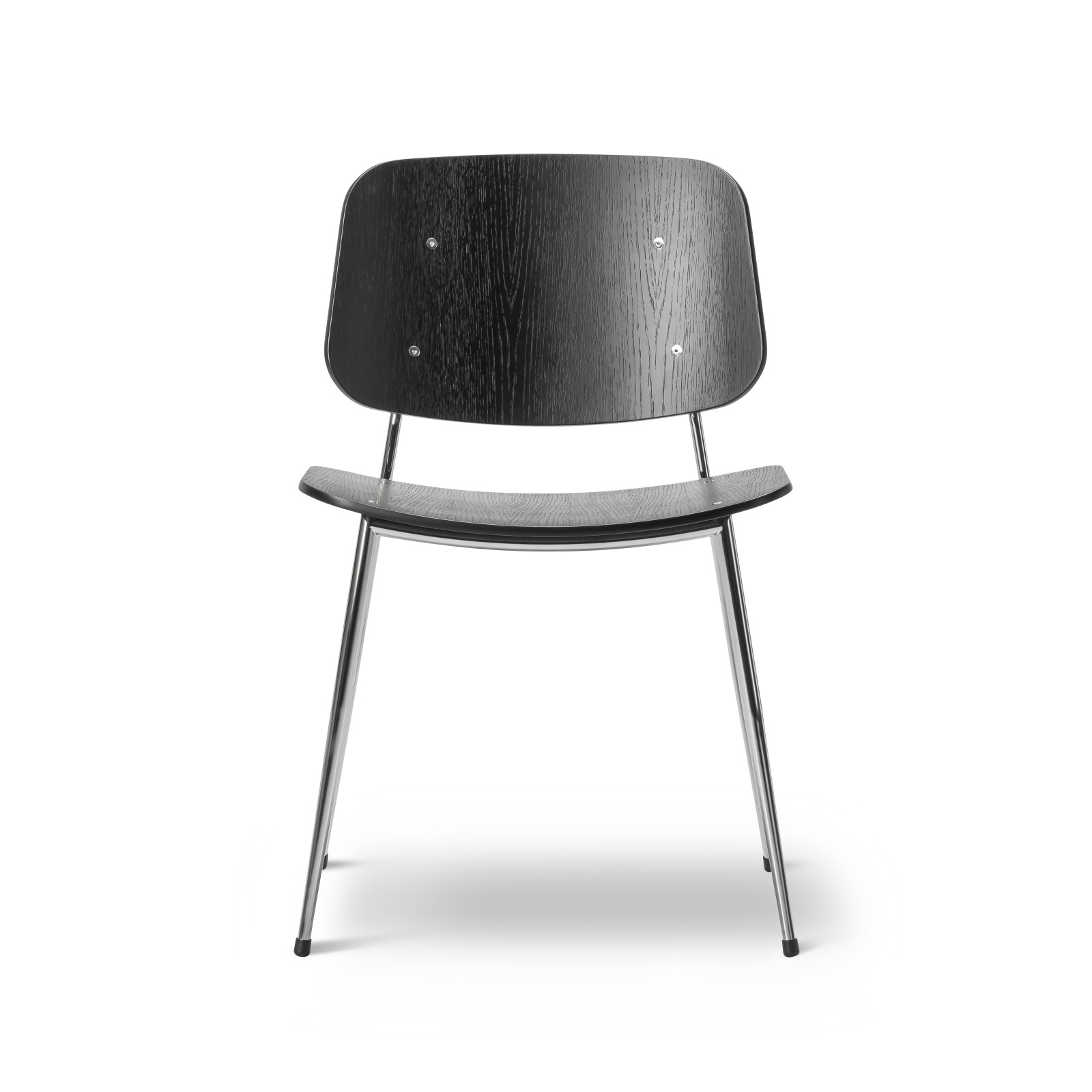 Soborg chair, steel frame Oak black lacquered, Chrome