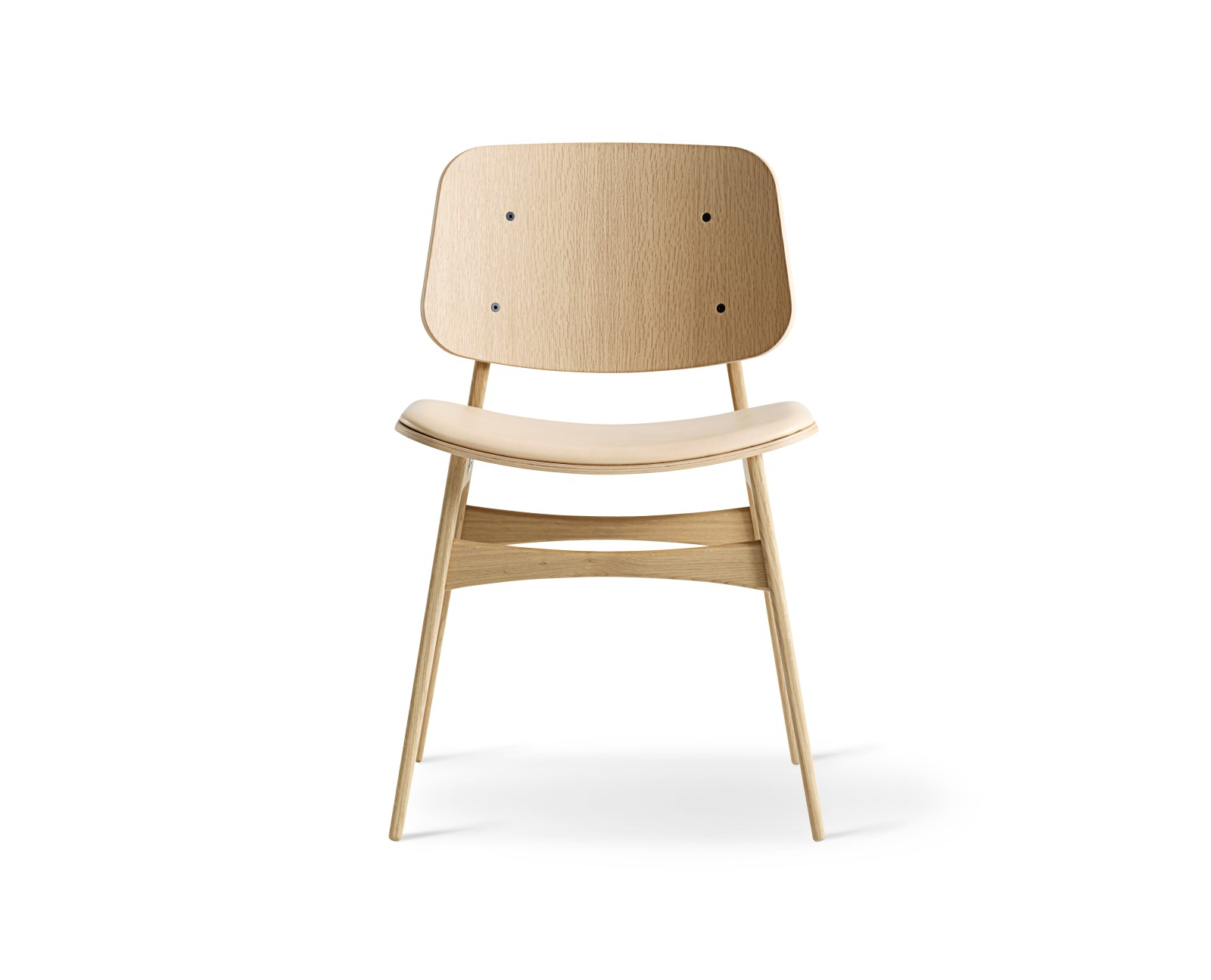 Soborg chair, wooden frame, seat upholstered Oak lacquered, Leather 90 Nature