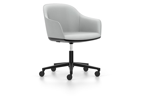 Softshell Chair Five Star Base Dumet 06 pebble melange, aluminium basic dark coated, 02 castors hard