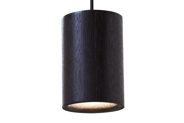 Solid Cylinder Pendant Light Black Stained Oak