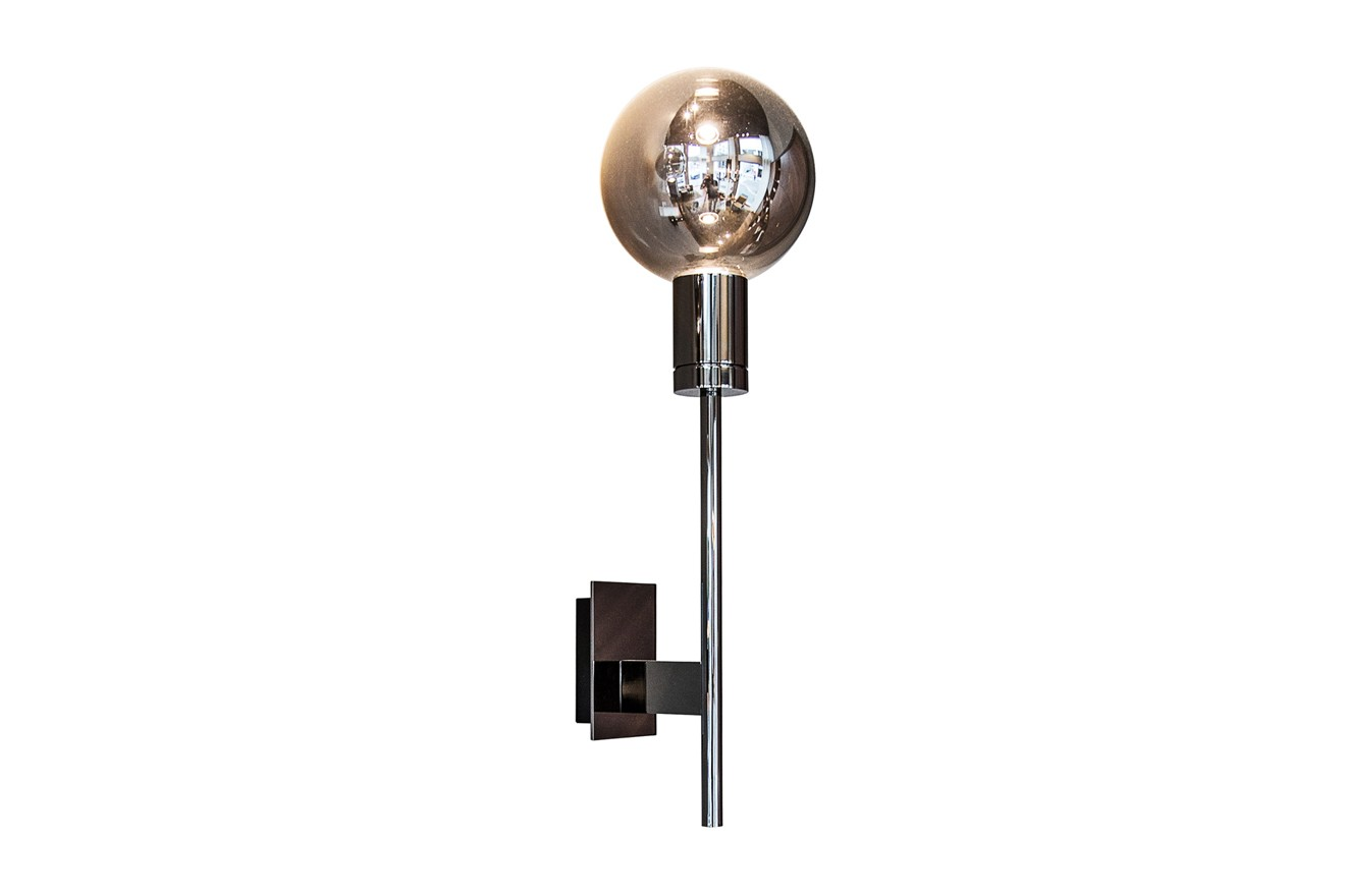 Solitario Wall Lamp Polished Black Nickel, Smoke