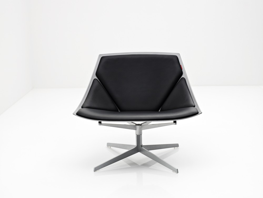 Space Lounge Chair White, Soft Leather Black, with swivel