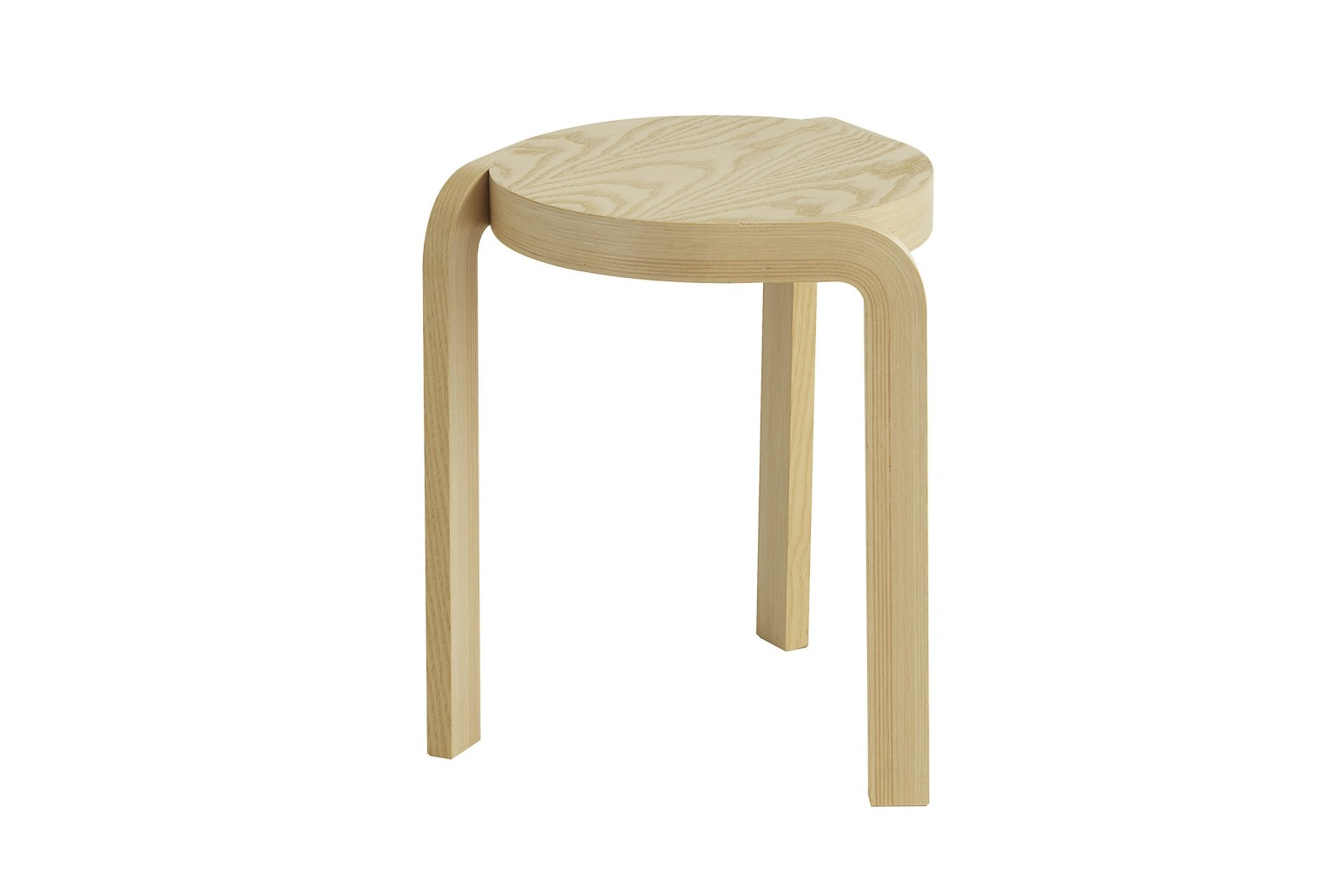 Spin Stackable Stool Ash Wood Natural Lacquer