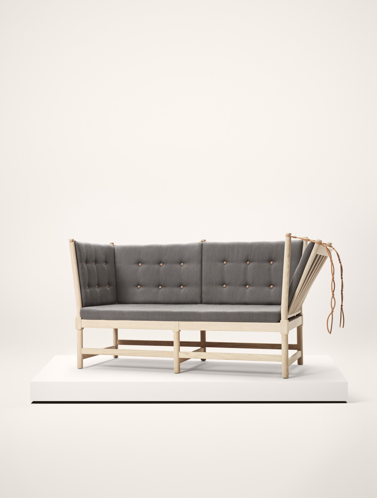 Spoke-Back Sofa, 2 Seater With Pattern Upholstery With Buttons, Beech lacquered, Remix 2 113