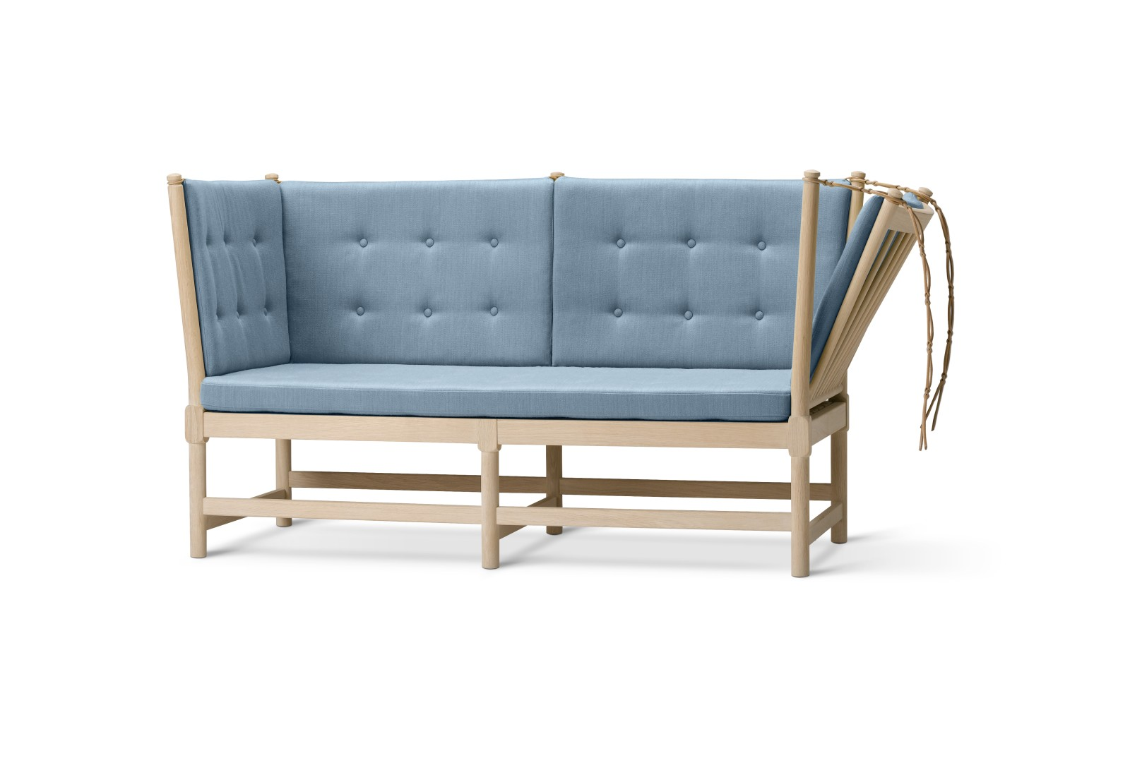 Spoke-Back Sofa, 2 Seater With Pattern Upholstery With Buttons, Oak Soap Treated, Remix 2 113