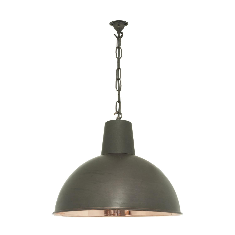 Spun Reflector Pendant Light Weather Copper, Polished Interior, Medium