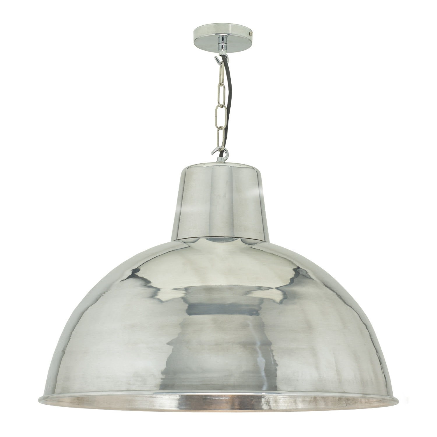 Spun Reflector Pendant Light Polished Aluminium, Large