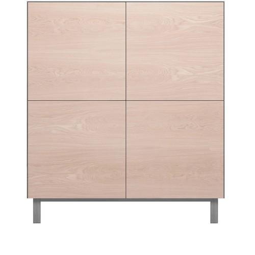 Square Cabinet 4 Doors Oak, Light Grey