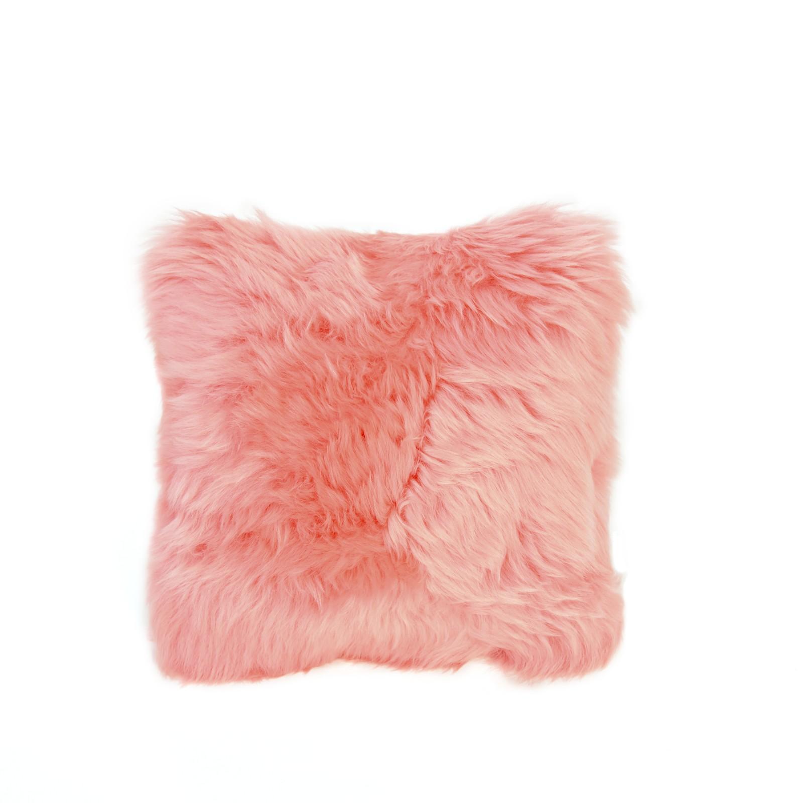 Square Sheepskin Cushion in Baby Pink