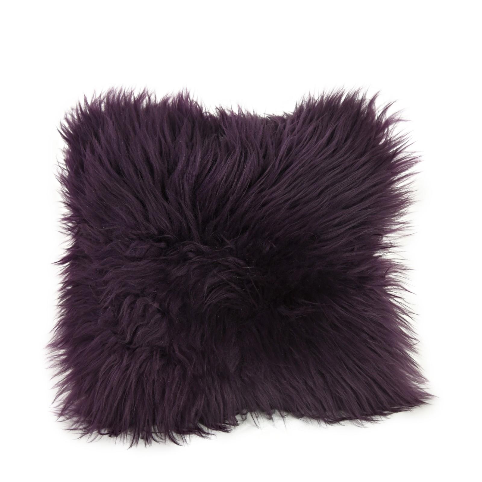 Square Sheepskin Cushion in Aubergine