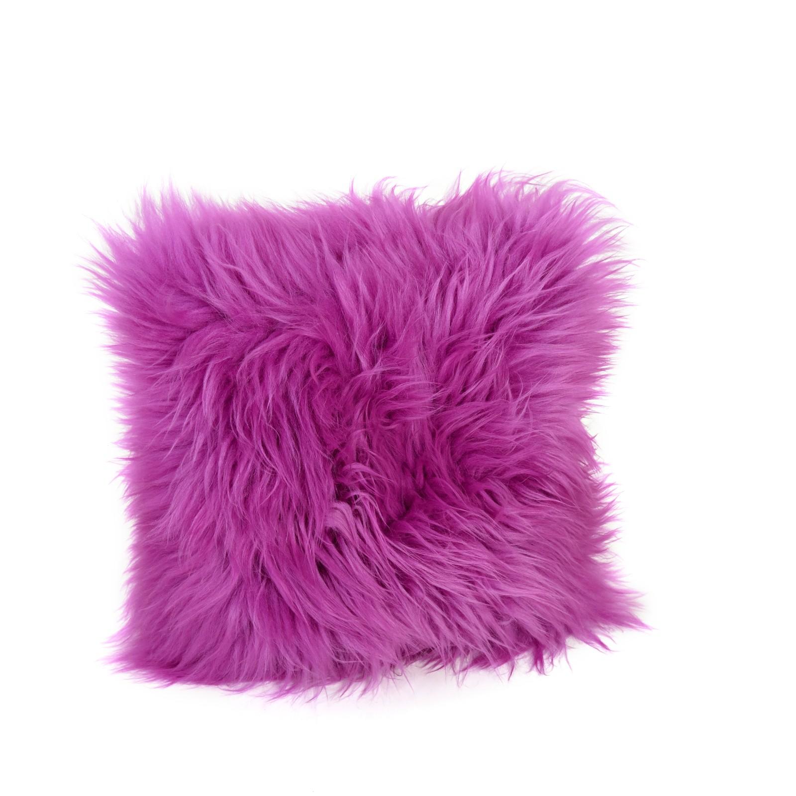 Square Sheepskin Cushion in Cerise