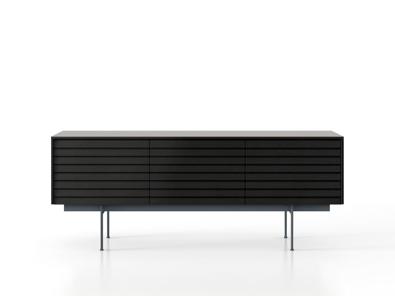 SSX311 Sussex Sideboard Black Textured Metal, Ebony Stained Oak