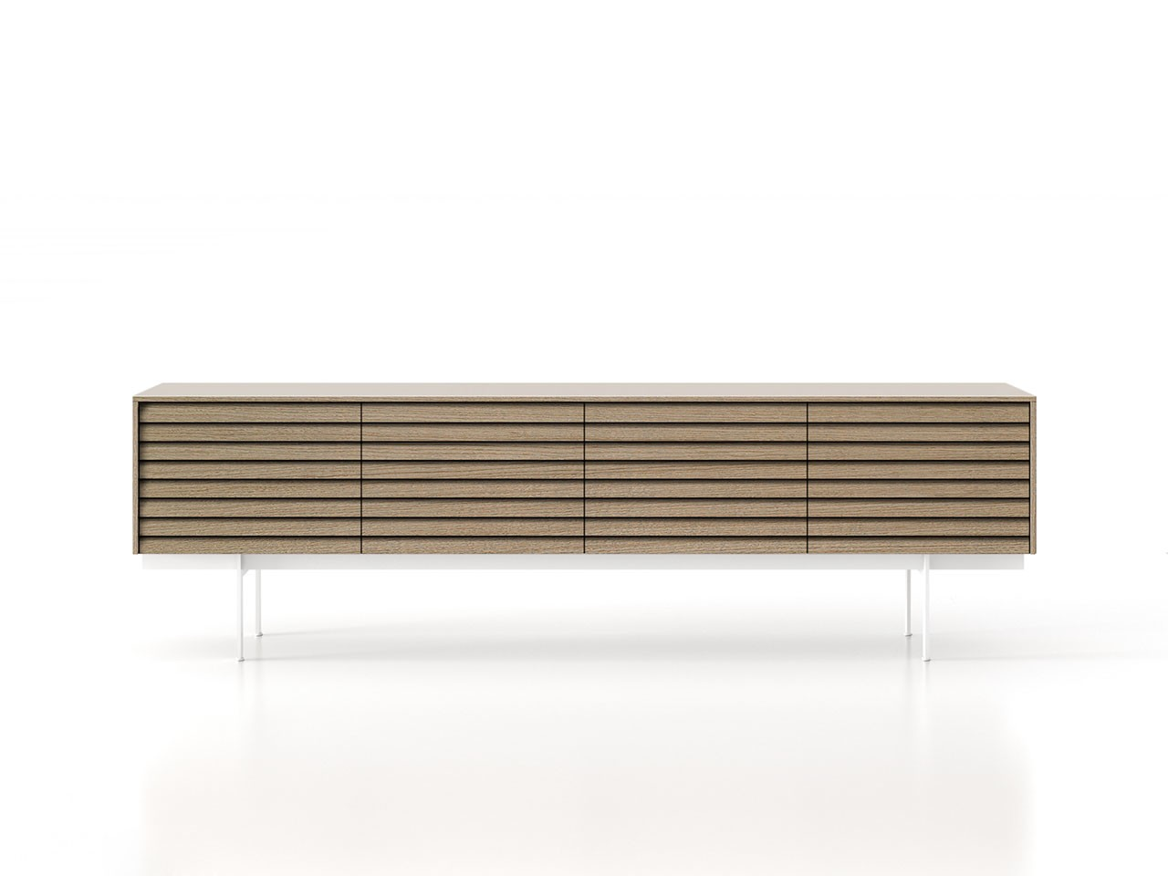 SSX411 Sussex Sideboard White Textured Metal, Whitened Oak