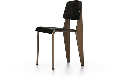 Standard Chair 04 dark oak with protective varnish, 04 glides for carpet, 80 Coffee powder-coated