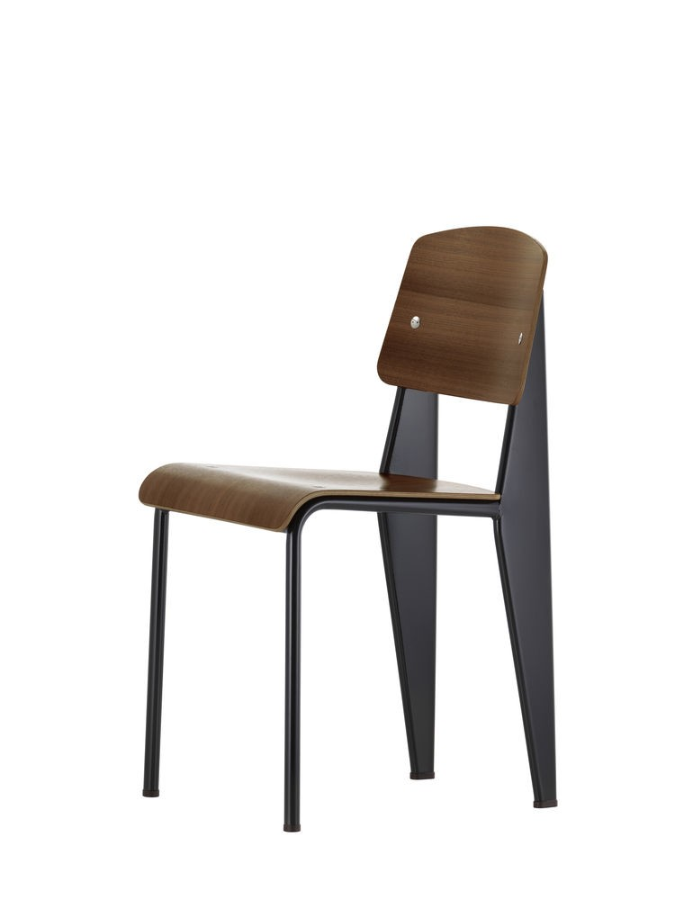 Standard Chair 45 walnut black pigmented, 04 glides for carpet, 40 Chocolate powder-coated
