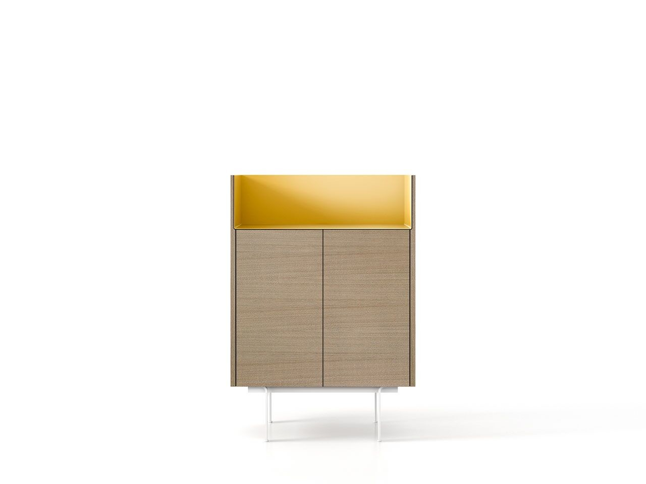 STH111 Stockholm Sideboard Whitened Oak, Gold Anodised Aluminium, White Textured Metal