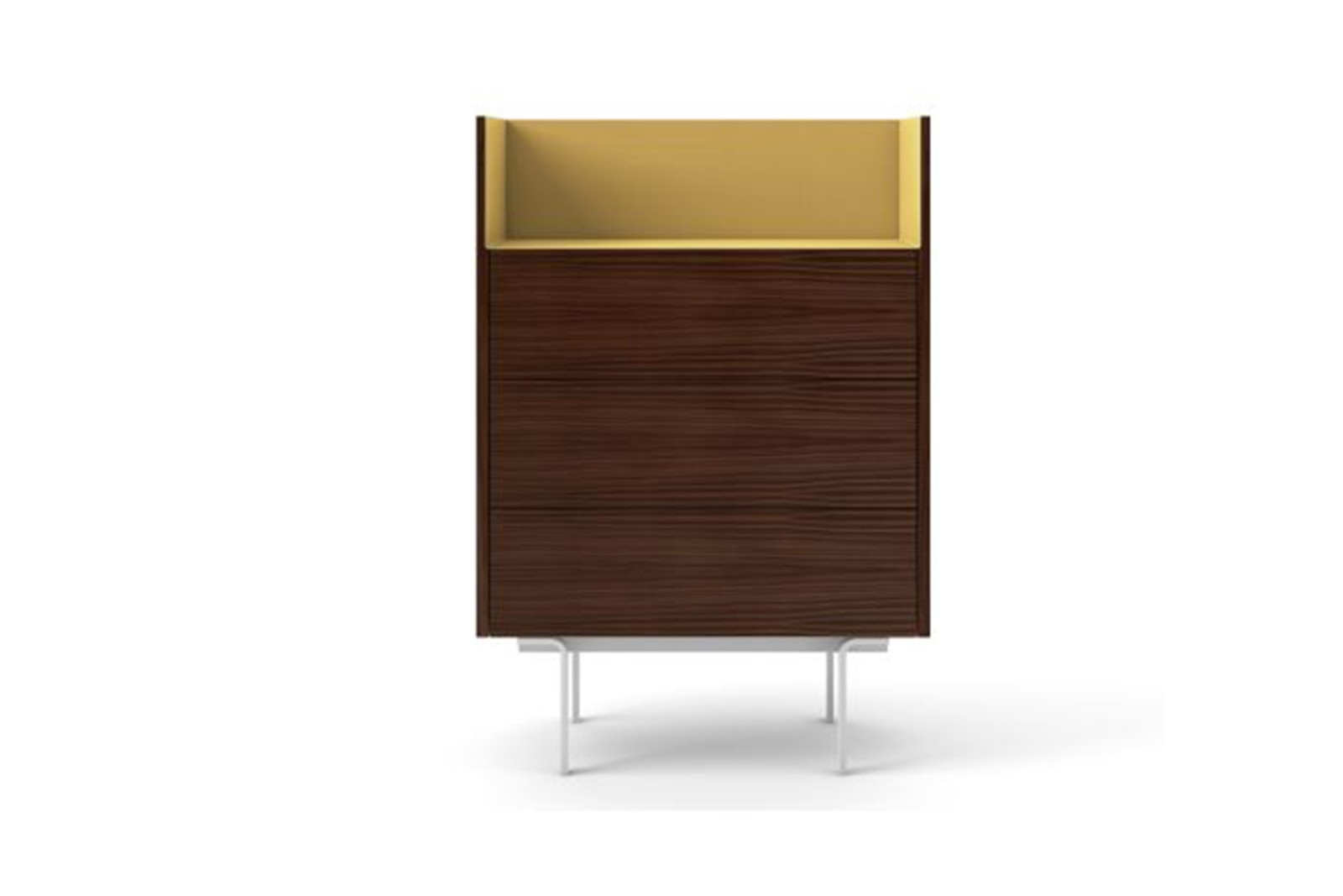 STH112 Stockholm Sideboard Dark Stained Walnut, Gold Anodised Aluminium, White Textured Metal