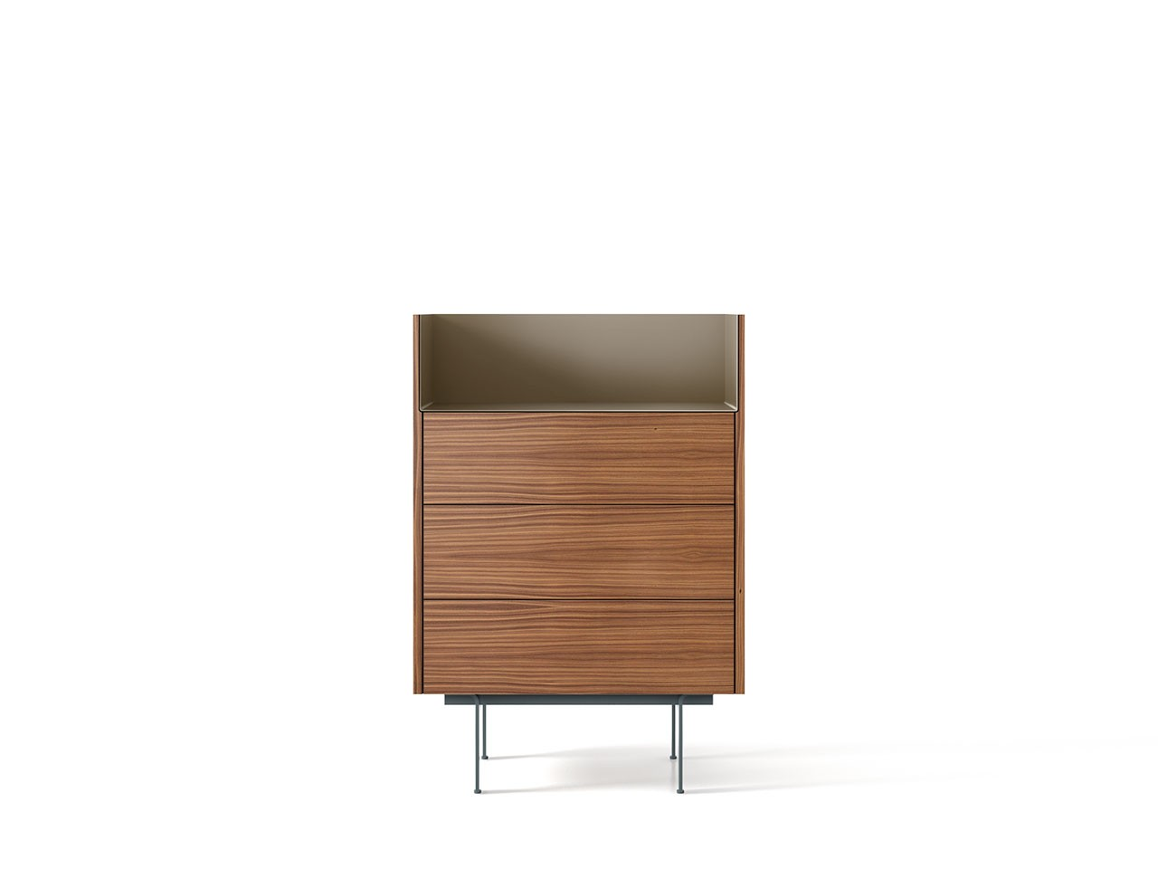 STH112 Stockholm Sideboard Super-Matt Walnut, Bronze Anodised Aluminium, Beige Textured Metal (ral 1