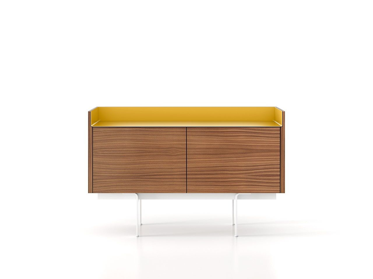 STH211 Stockholm Sideboard Super-Matt Walnut, Gold Anodised Aluminium, White Textured Metal