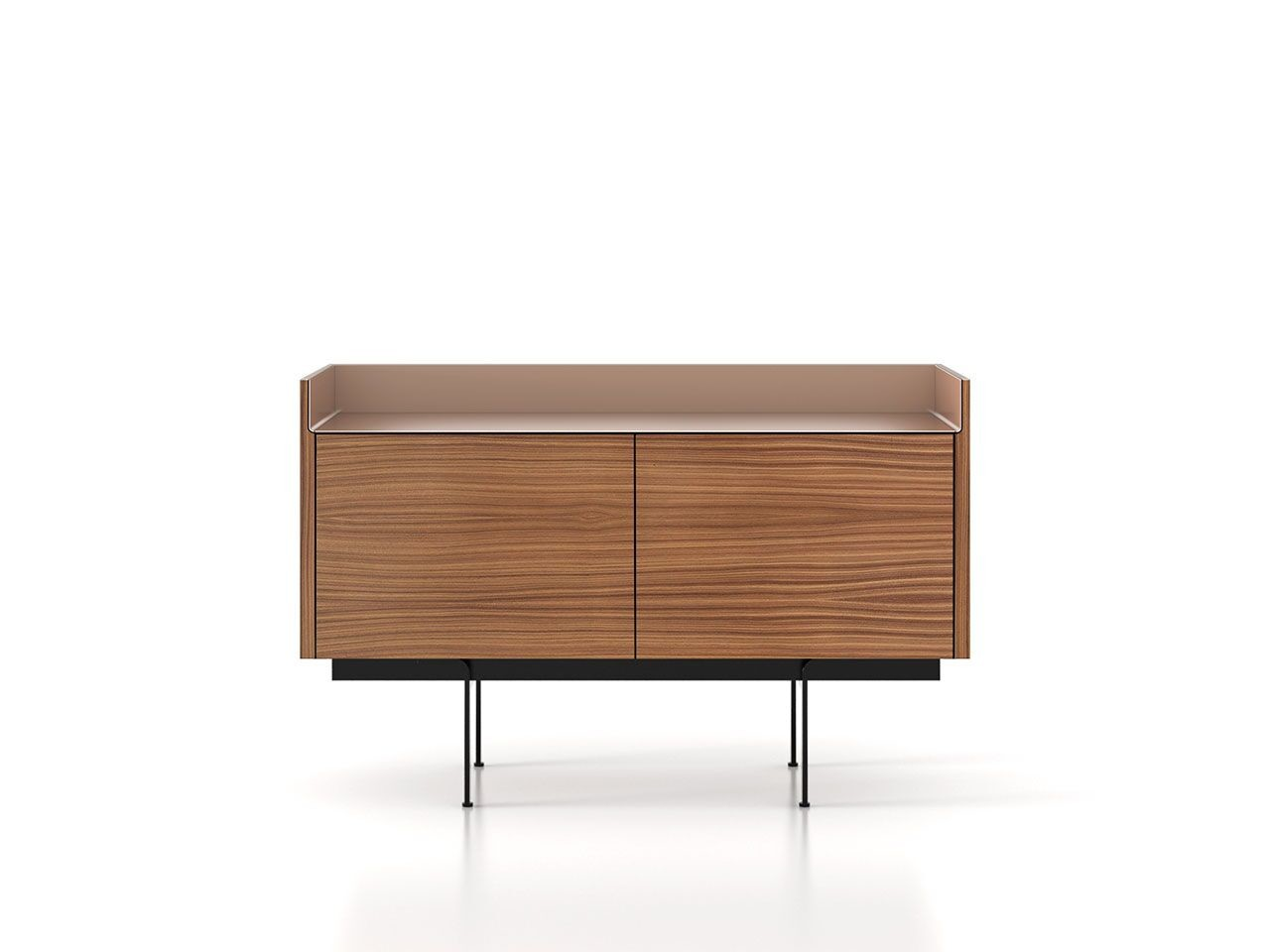 STH211 Stockholm Sideboard Super-Matt Walnut, Pale Rose Anodised Aluminium, Black Textured Metal