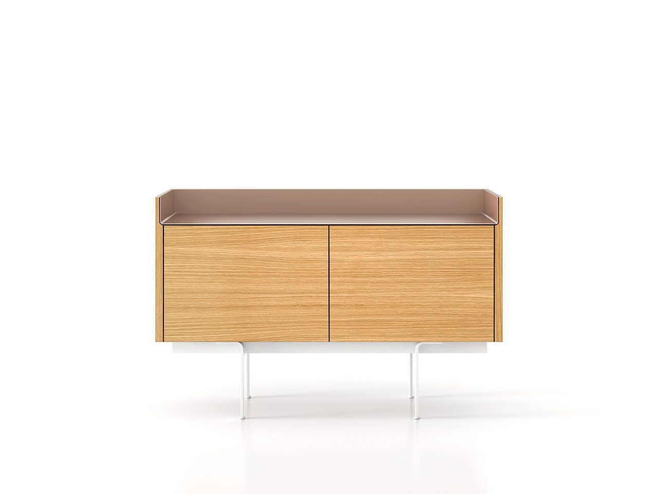 STH211 Stockholm Sideboard Super-Matt Oak, Bronze Anodised Aluminium, White Textured Metal