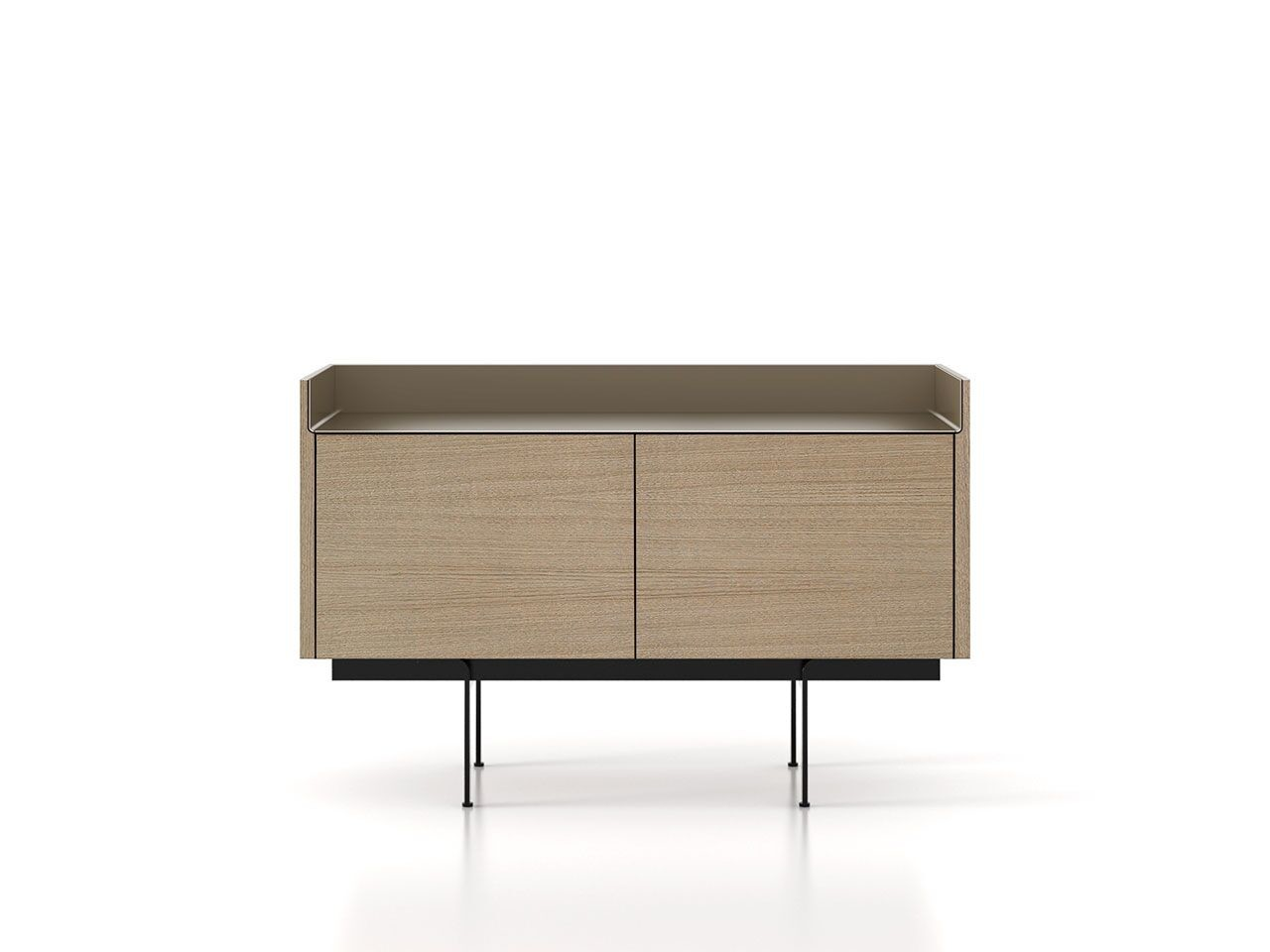 STH211 Stockholm Sideboard Whitened Oak, Bronze Anodised Aluminium, Black Textured Metal