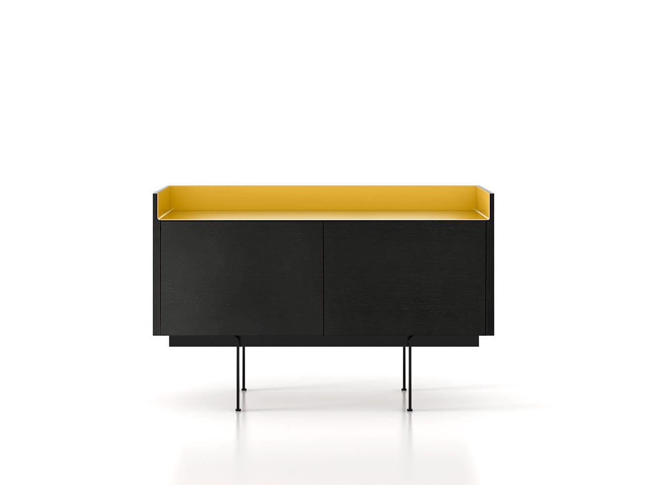 STH211 Stockholm Sideboard Ebony Stained Oak, Gold Anodised Aluminium, Black Textured Metal