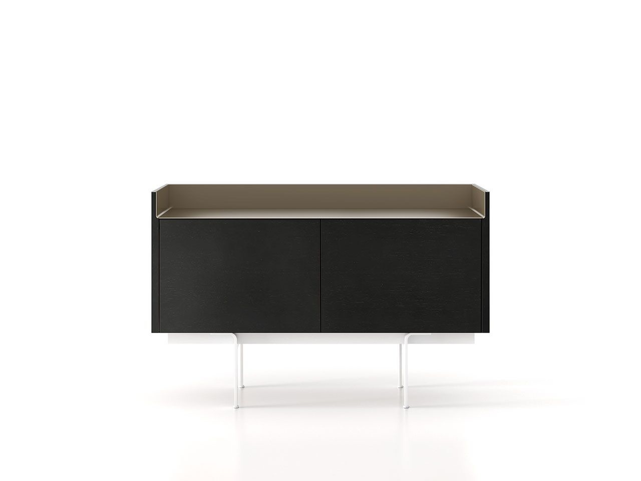 STH211 Stockholm Sideboard Ebony Stained Oak, Bronze Anodised Aluminium, White Textured Metal
