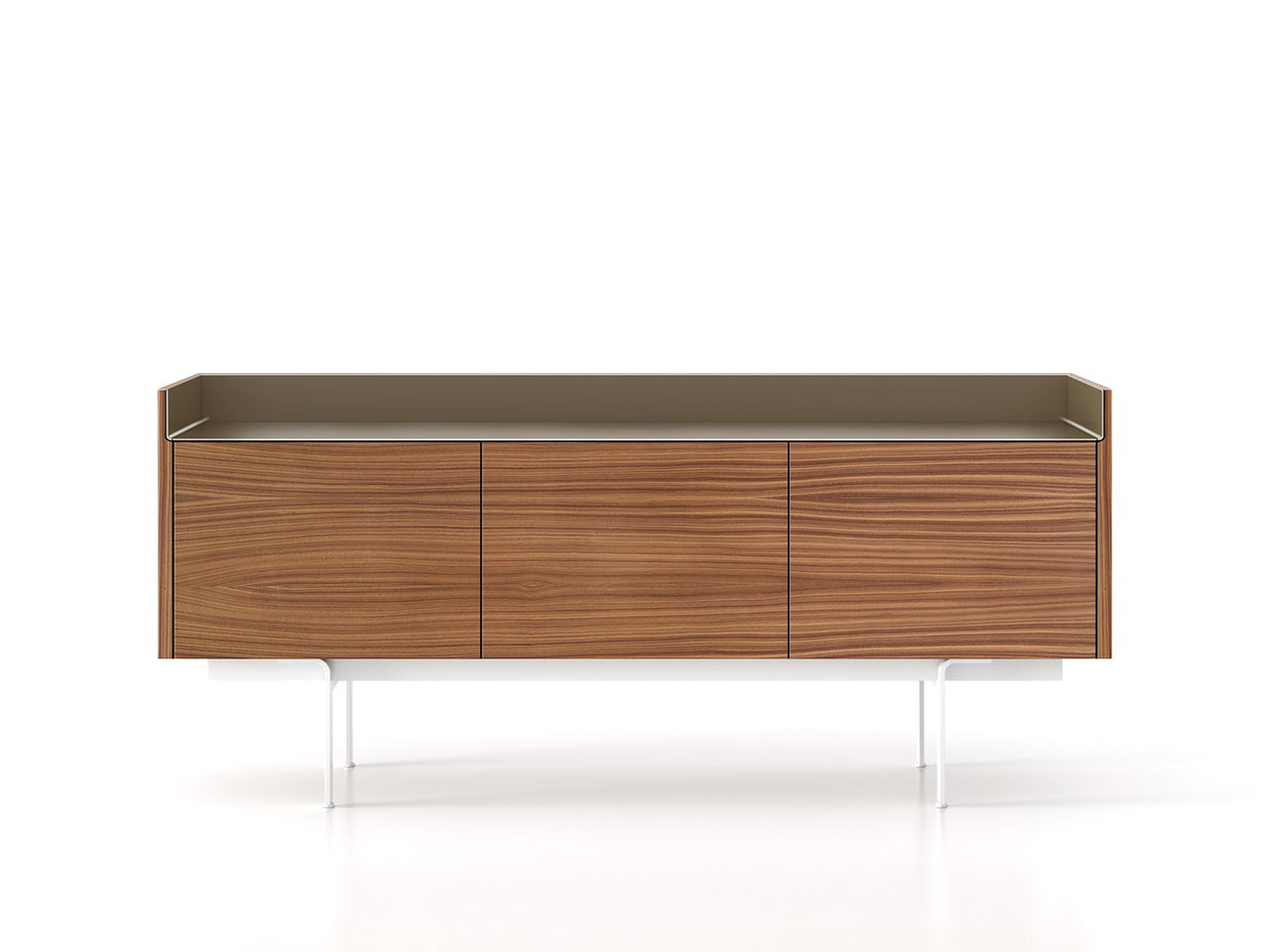 STH311 Stockholm Sideboard Super-Matt Walnut, Bronze Anodised Aluminium, White Textured Metal