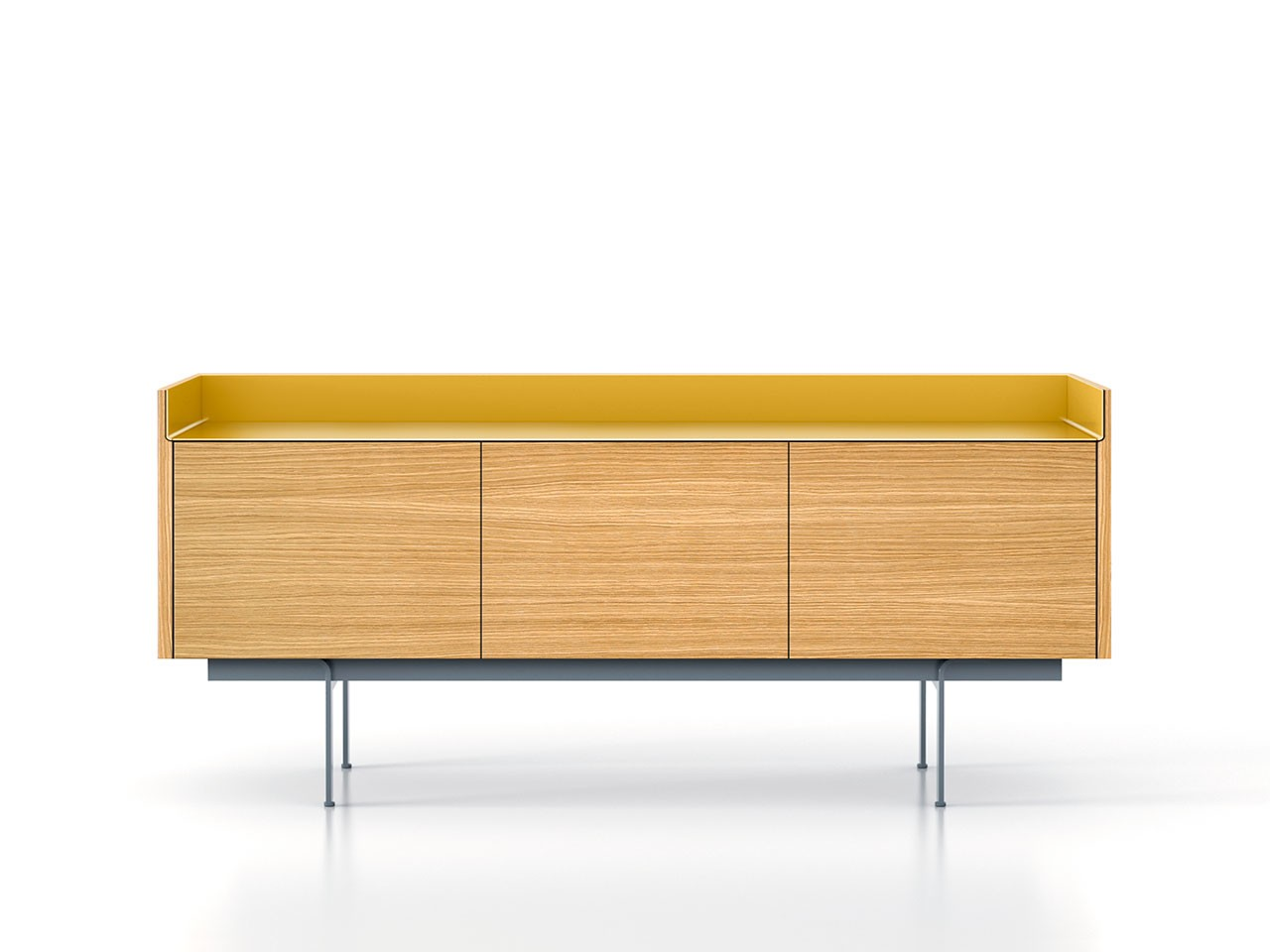 STH311 Stockholm Sideboard Super-Matt Oak, Gold Anodised Aluminium, Beige Textured Metal