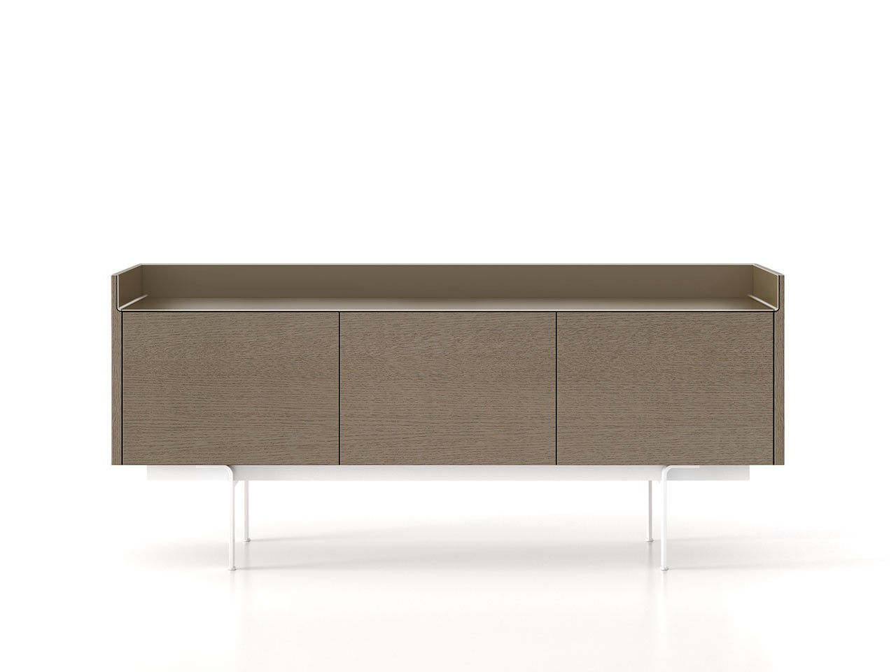 STH311 Stockholm Sideboard Siena Grey Stained Oak, Bronze Anodised Aluminium, White Textured Metal