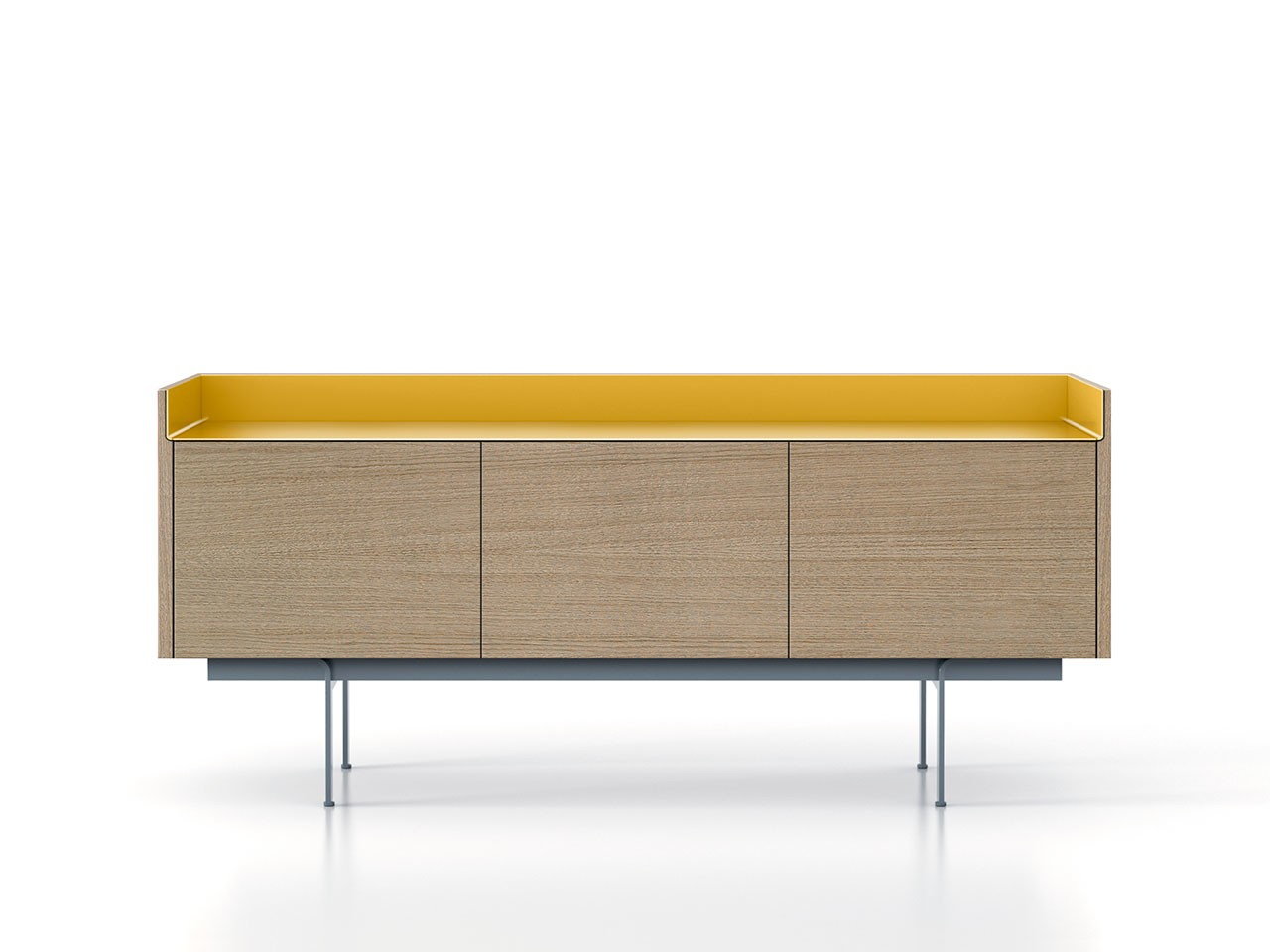 STH311 Stockholm Sideboard Whitened Oak, Gold Anodised Aluminium, Beige Textured Metal