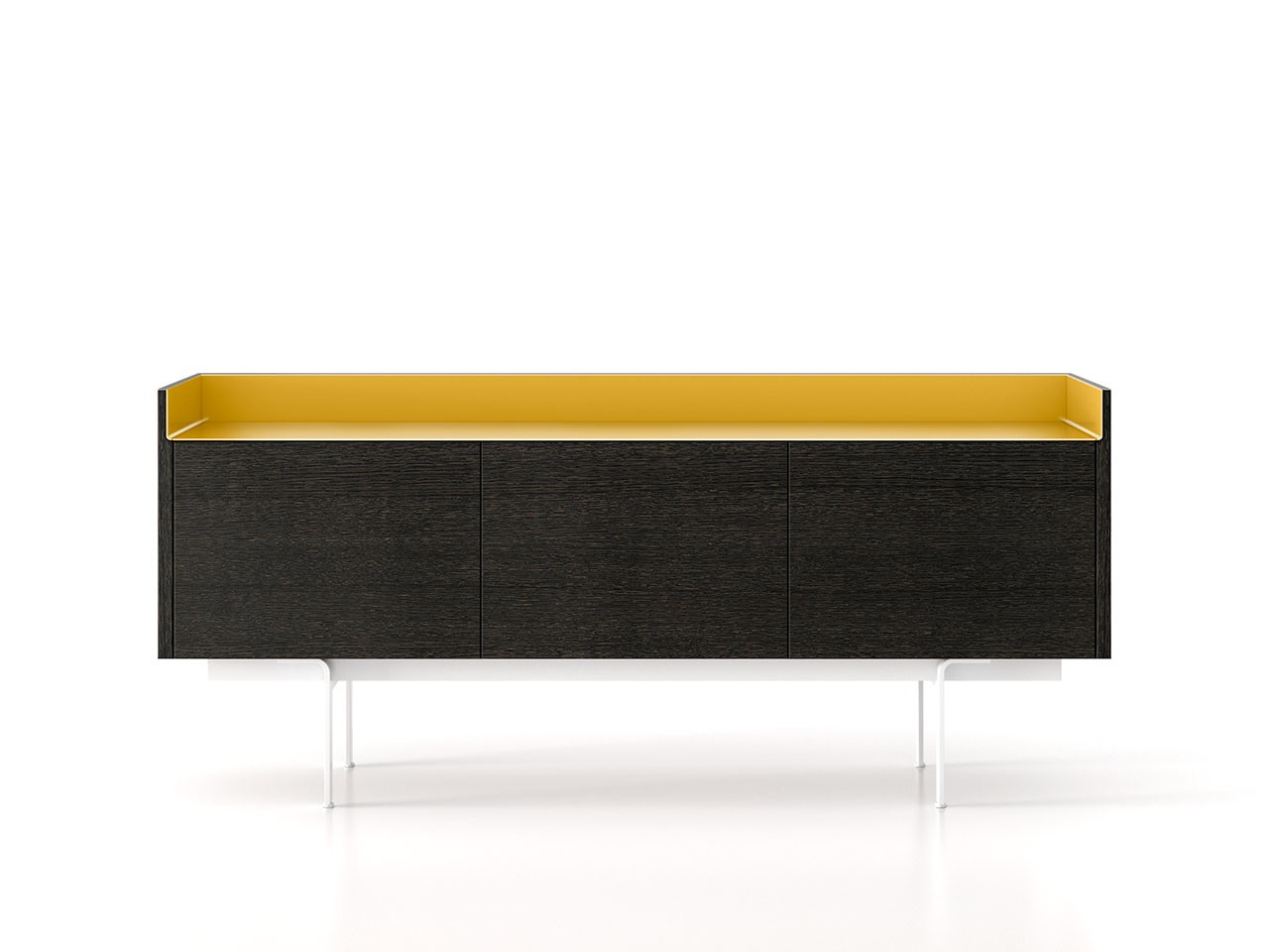 STH311 Stockholm Sideboard Dark Stained Walnut, Gold Anodised Aluminium, White Textured Metal